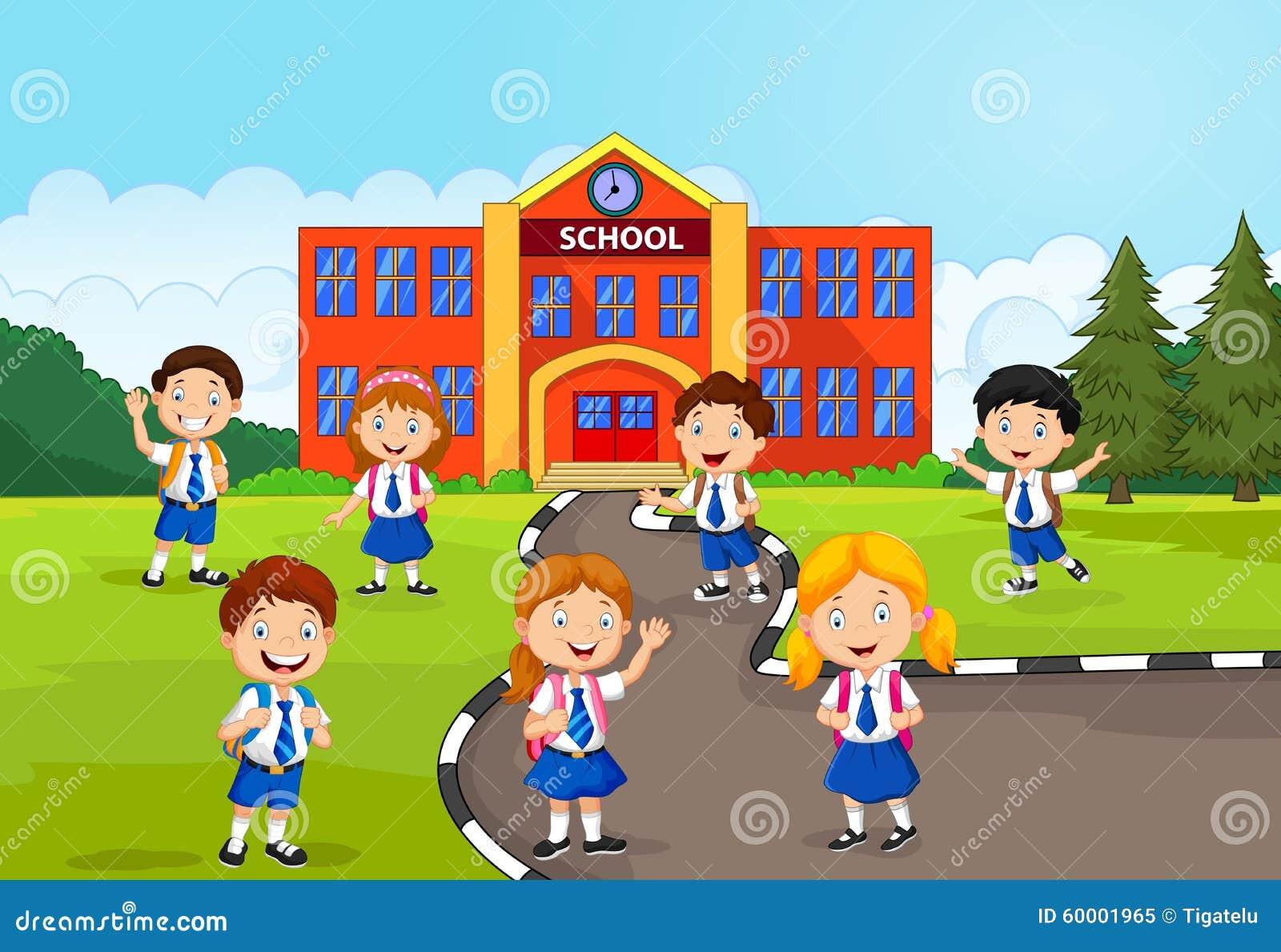 愉快的小学生的例证在学校前面的.图片