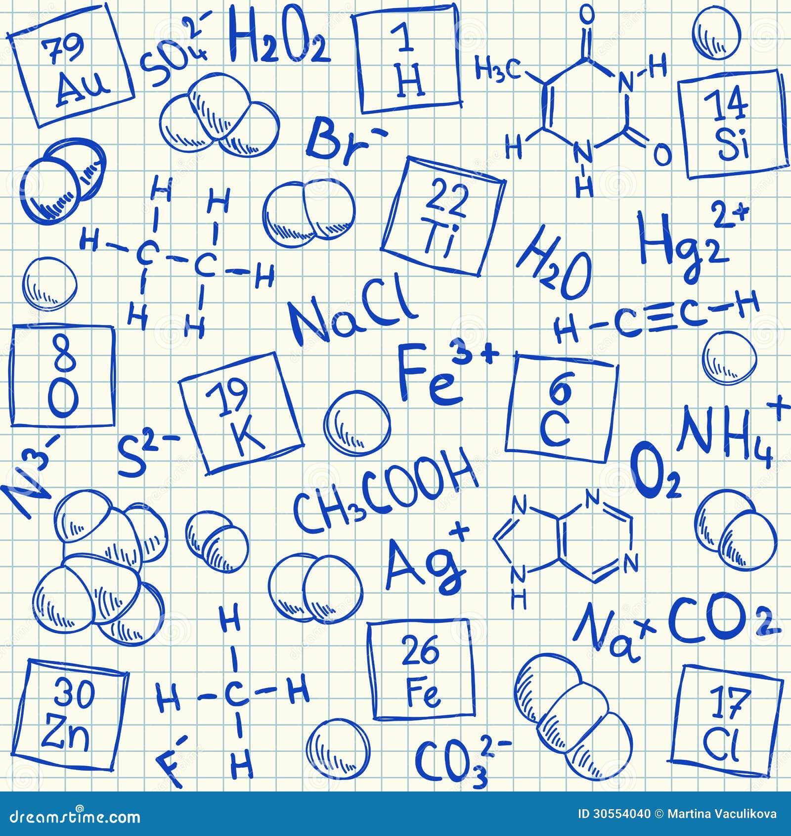 在学校方格纸的化学制品乱画