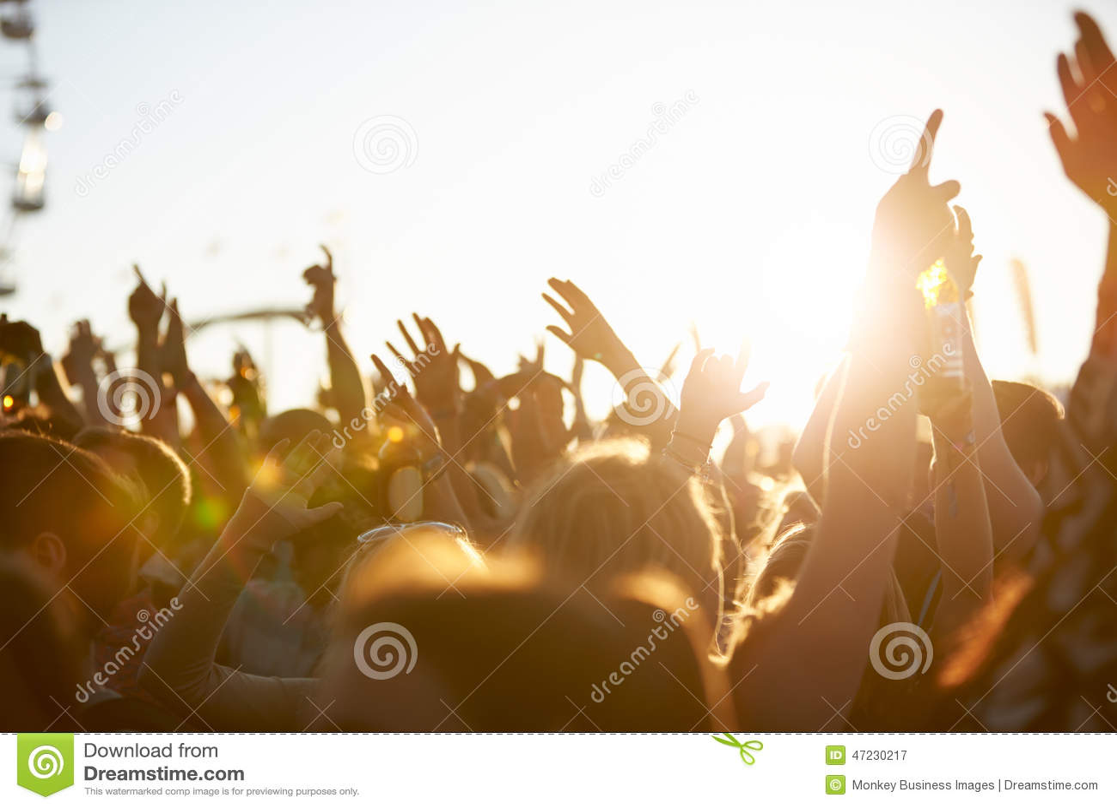 在室外音乐节的观众
