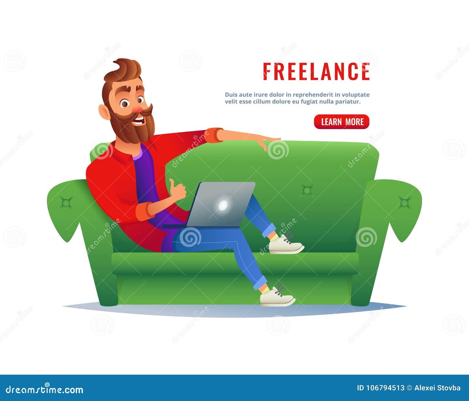 在家工作在长沙发的人 自由职业者坐有膝上型计算机的沙发,遥远地运转通过互联网 工作在
