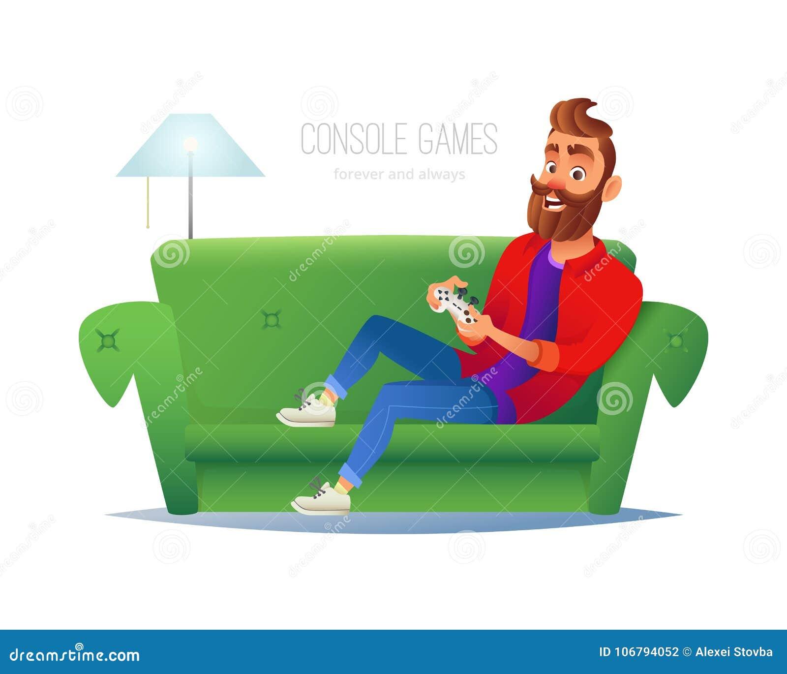 在家演奏电子游戏控制台的微笑的人 与行家人的传染媒介例证坐沙发,举办比赛