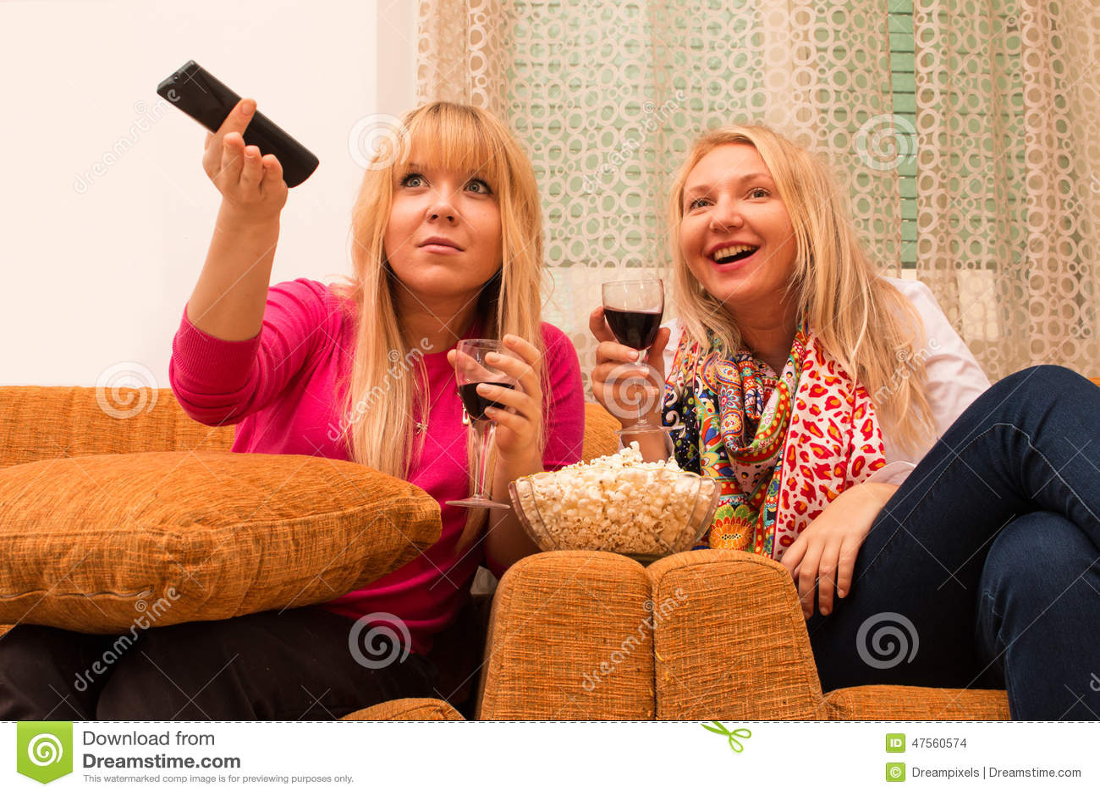 在家看电视和喝酒减速火箭的样式的最好的朋友过滤了图象