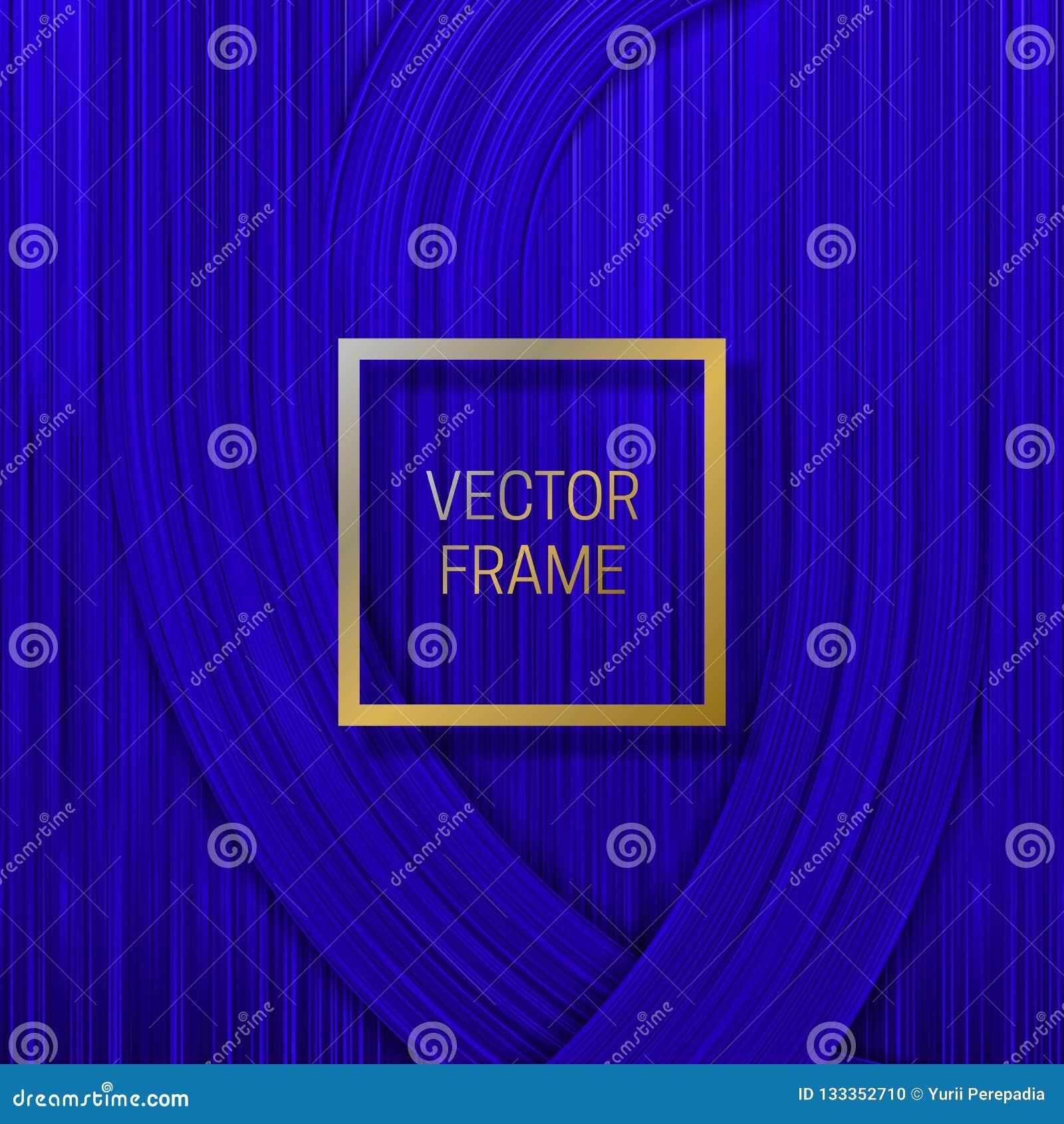 在容量饱和的背景的金黄框架在蓝色树荫下 时髦成套设计或盖子模板