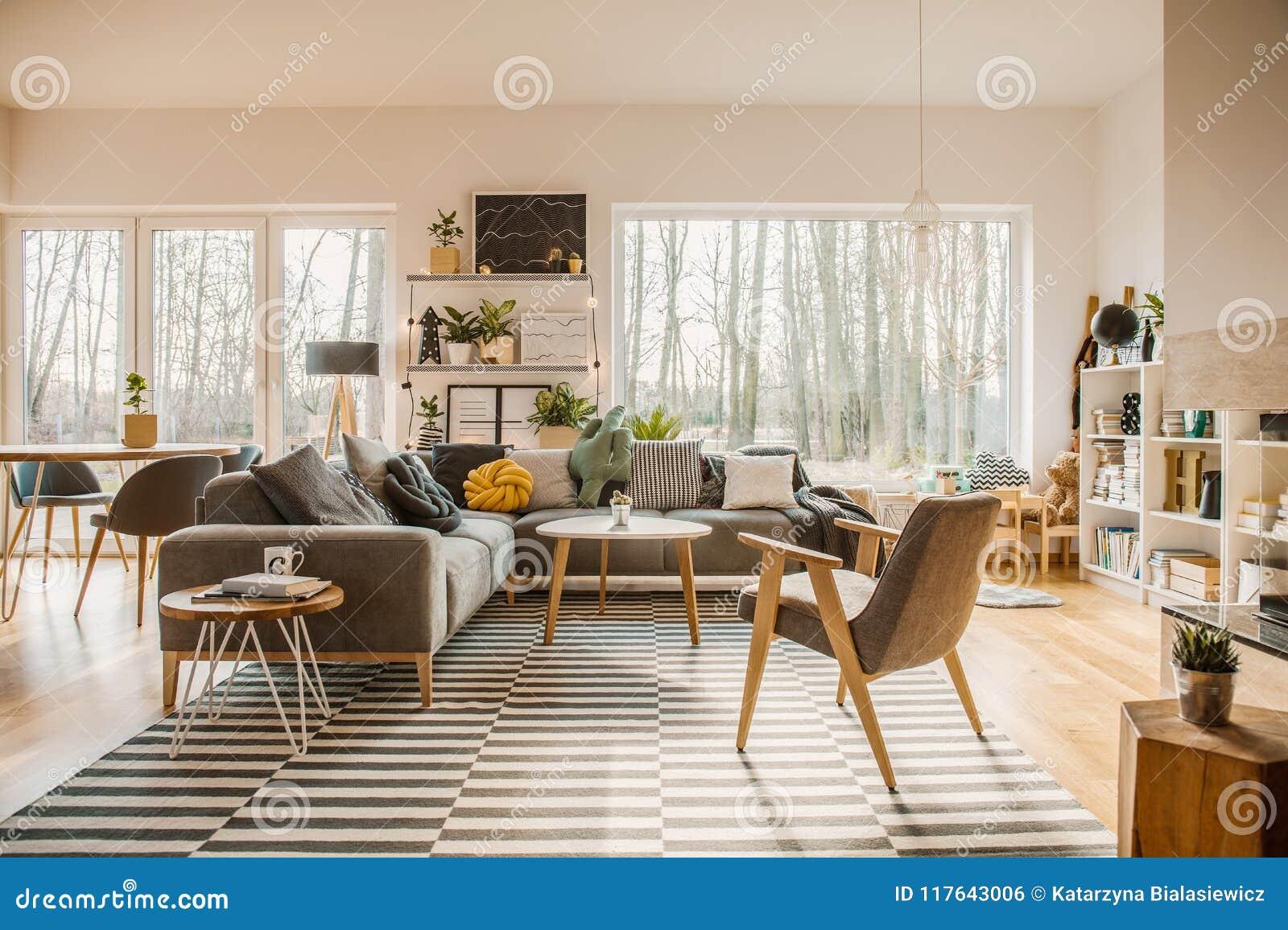 在宽敞客厅内部的灰色,木家具与w