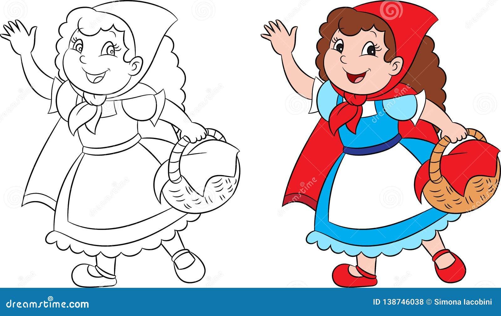在小红骑兜帽的例证的前后可爱的Kawaii,在等高和颜色完善对儿童的彩图