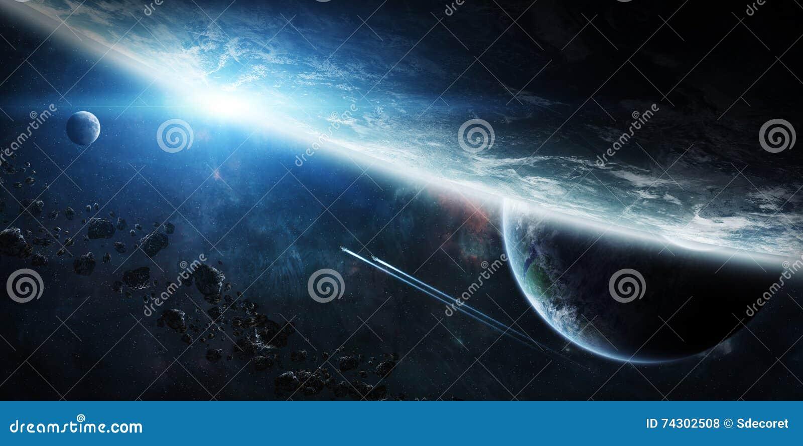 在小组的日出在空间的行星