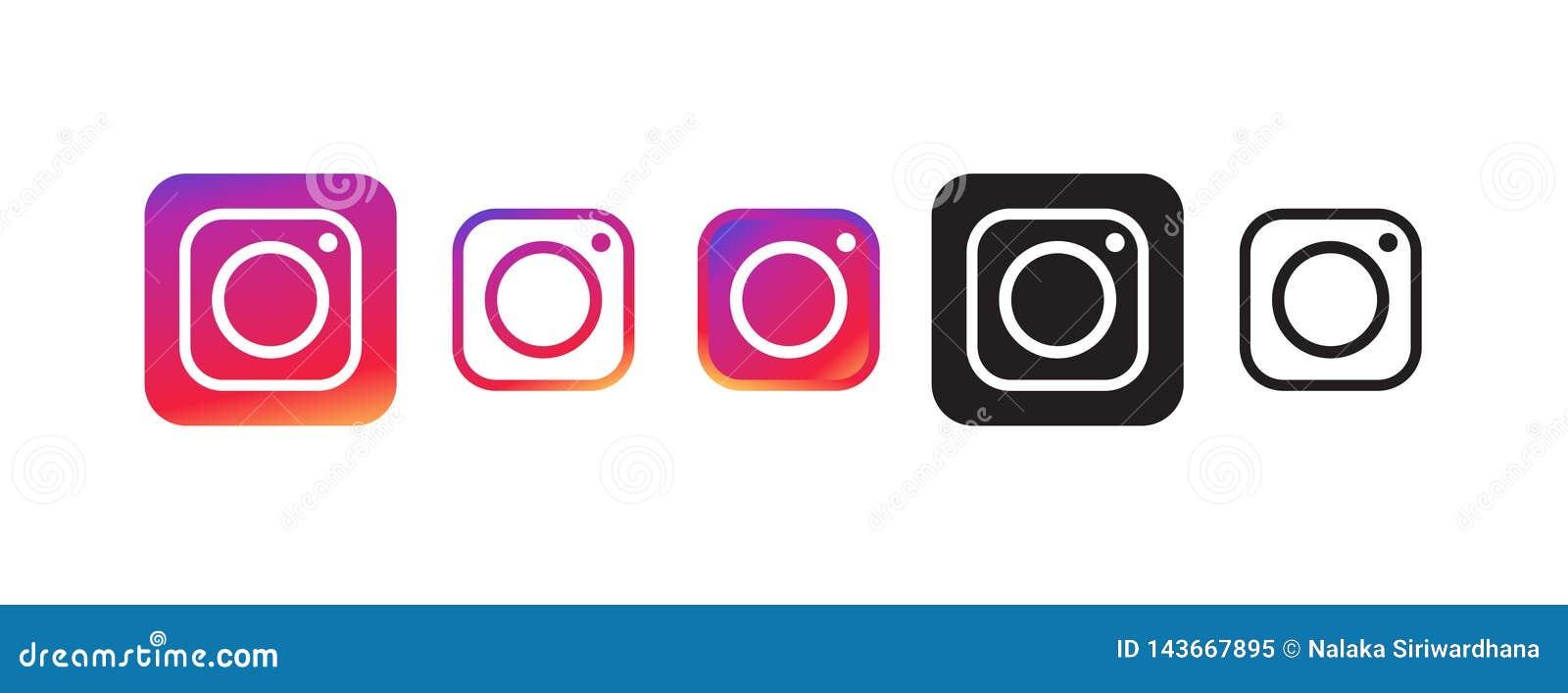在少量各种各样的颜色的Instagram象