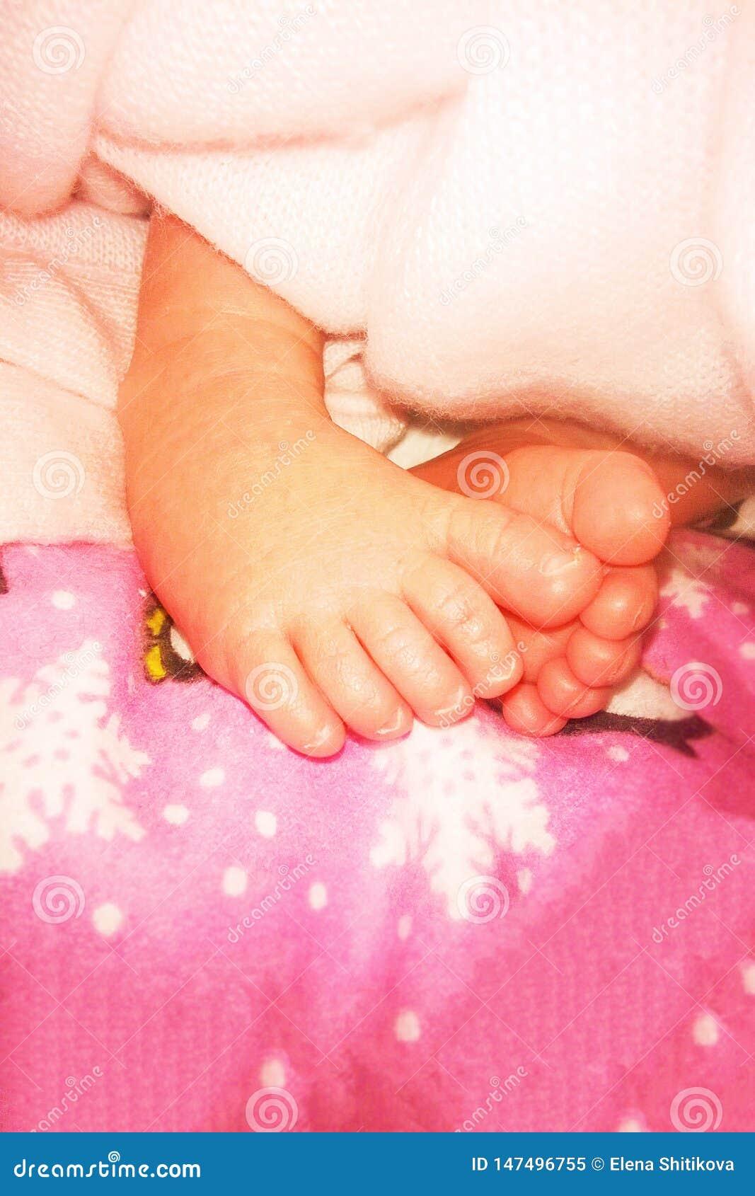 在尿布的婴孩脚 第一个星期生活