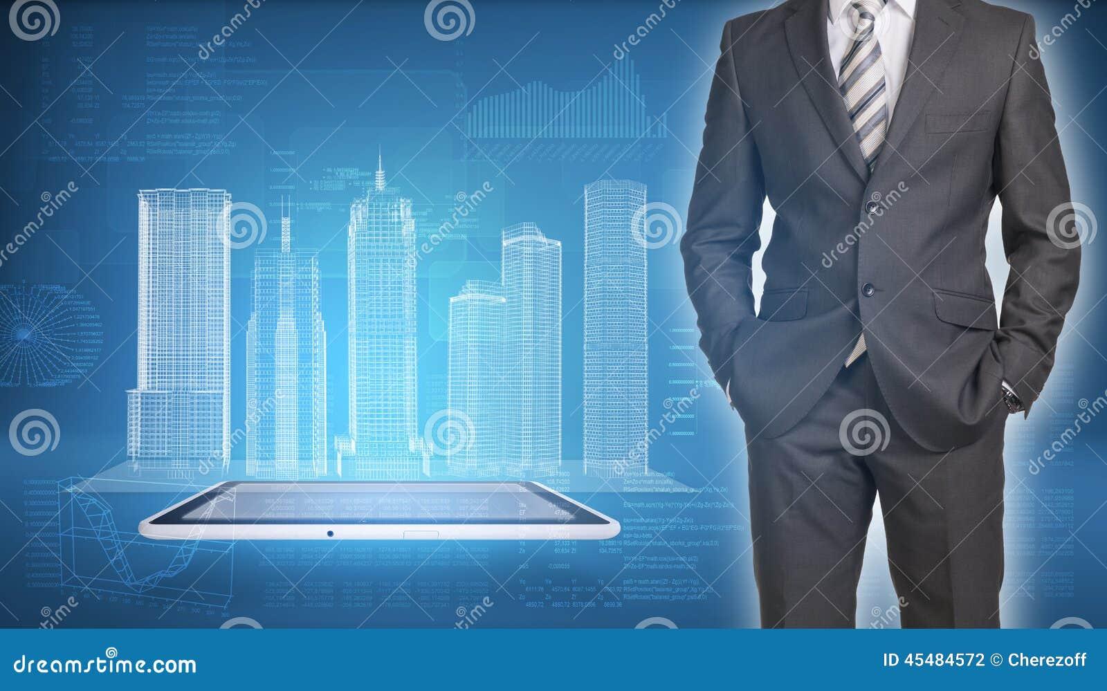 在屏幕上的商人和导线框架大厦