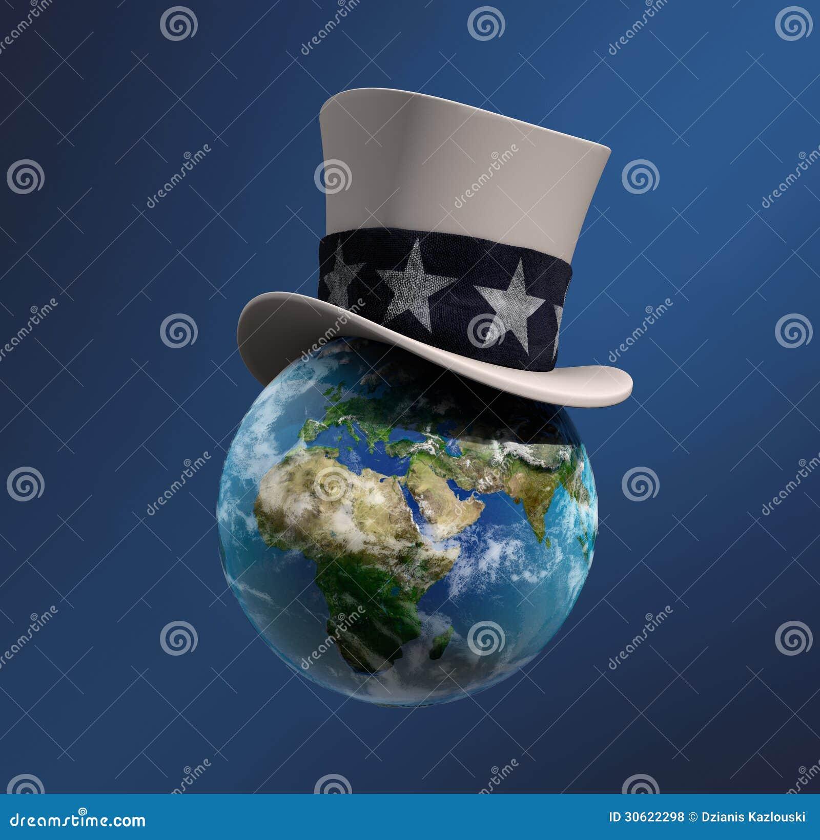 在山姆大叔的帽子的地球