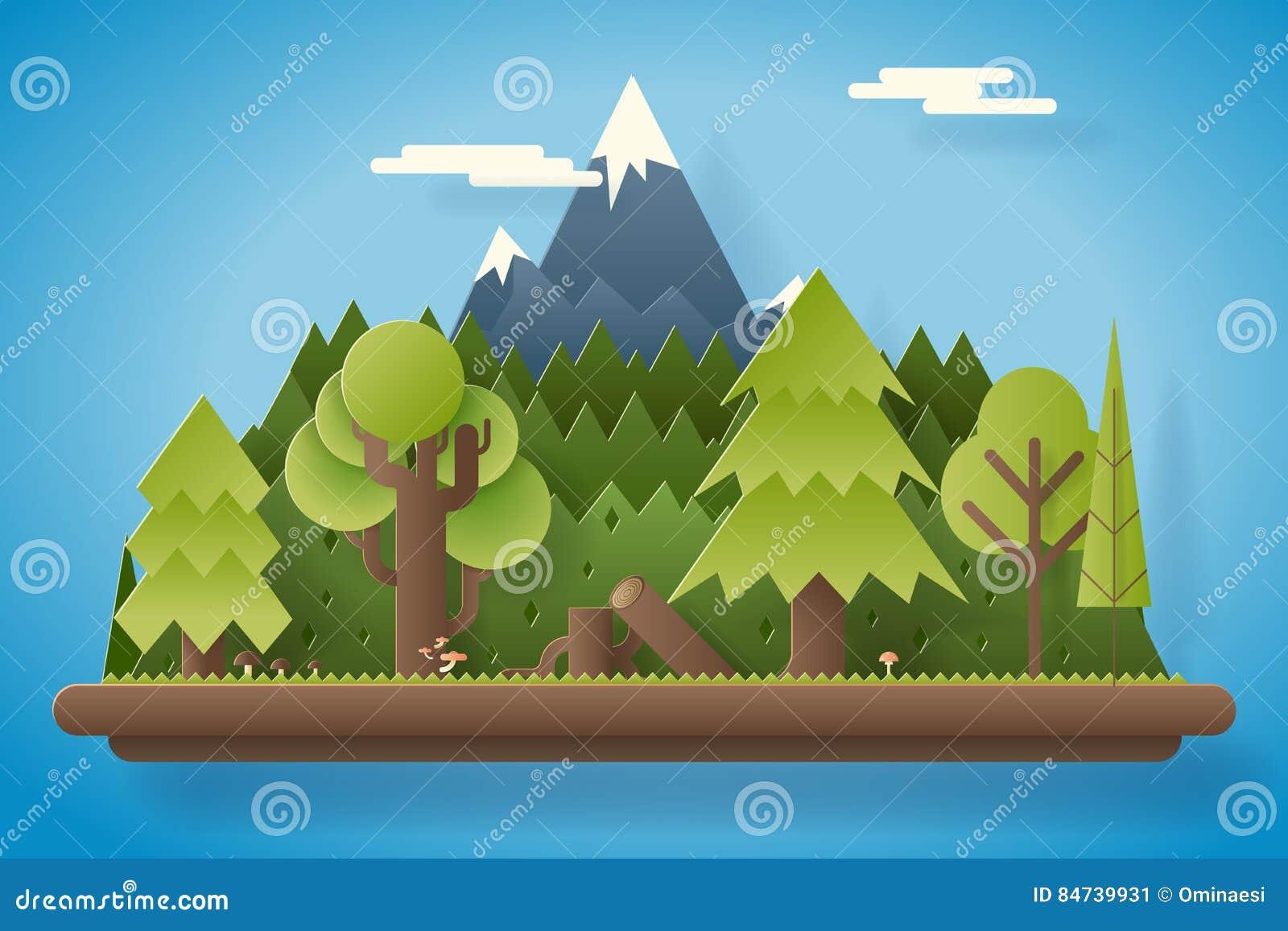 在山平的设计风景背景模板传染媒介例证下的纸木头