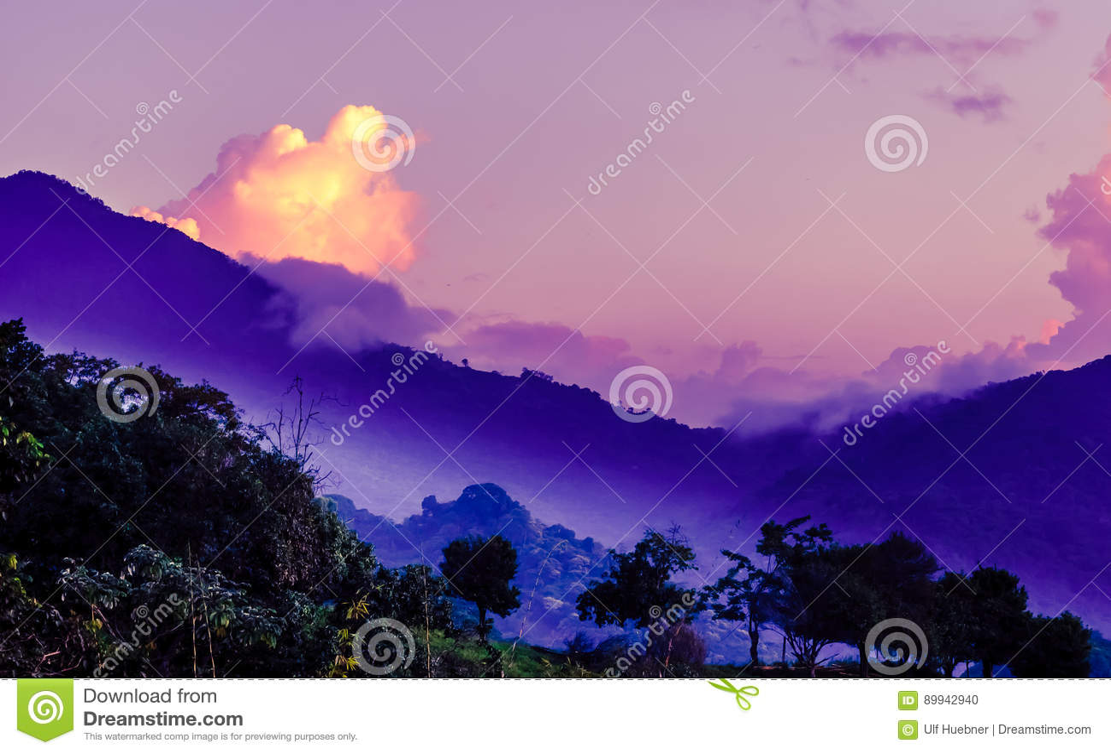 在山的紫色早晨雾由云母在哥伦比亚