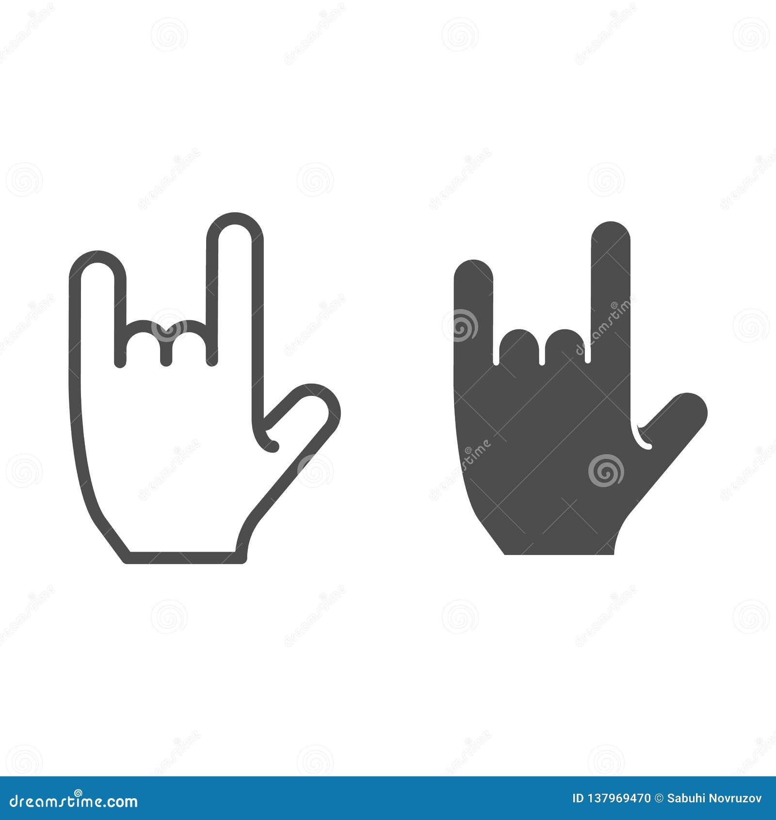 在岩石姿态线和纵的沟纹象的手 摇滚乐标志在白色隔绝的传染媒介例证 重金属的概述