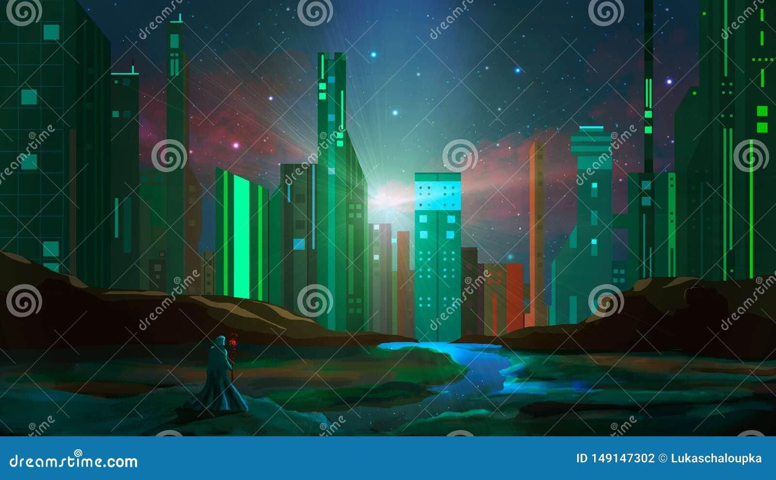 在岩石的魔术师立场与河和科学幻想小说城市在晚上 E