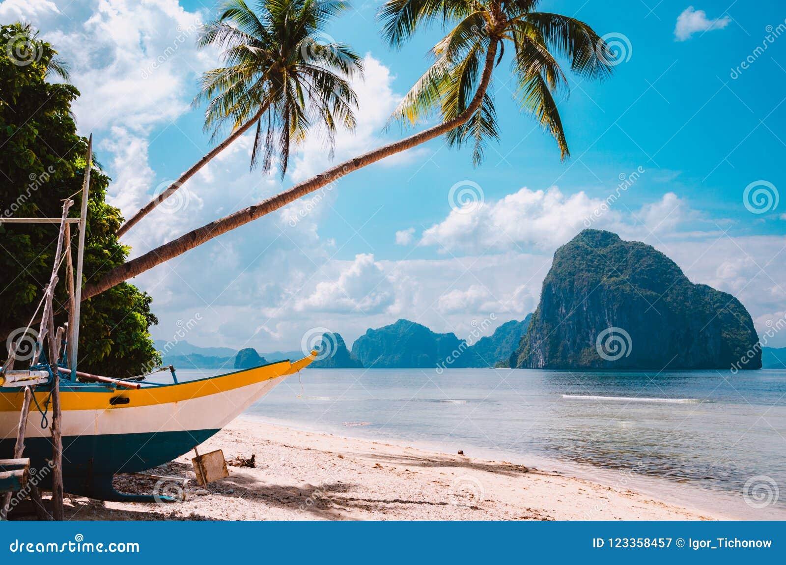 在岸的Banca小船在棕榈树下 热带海岛风景风景 ElNido,巴拉望岛