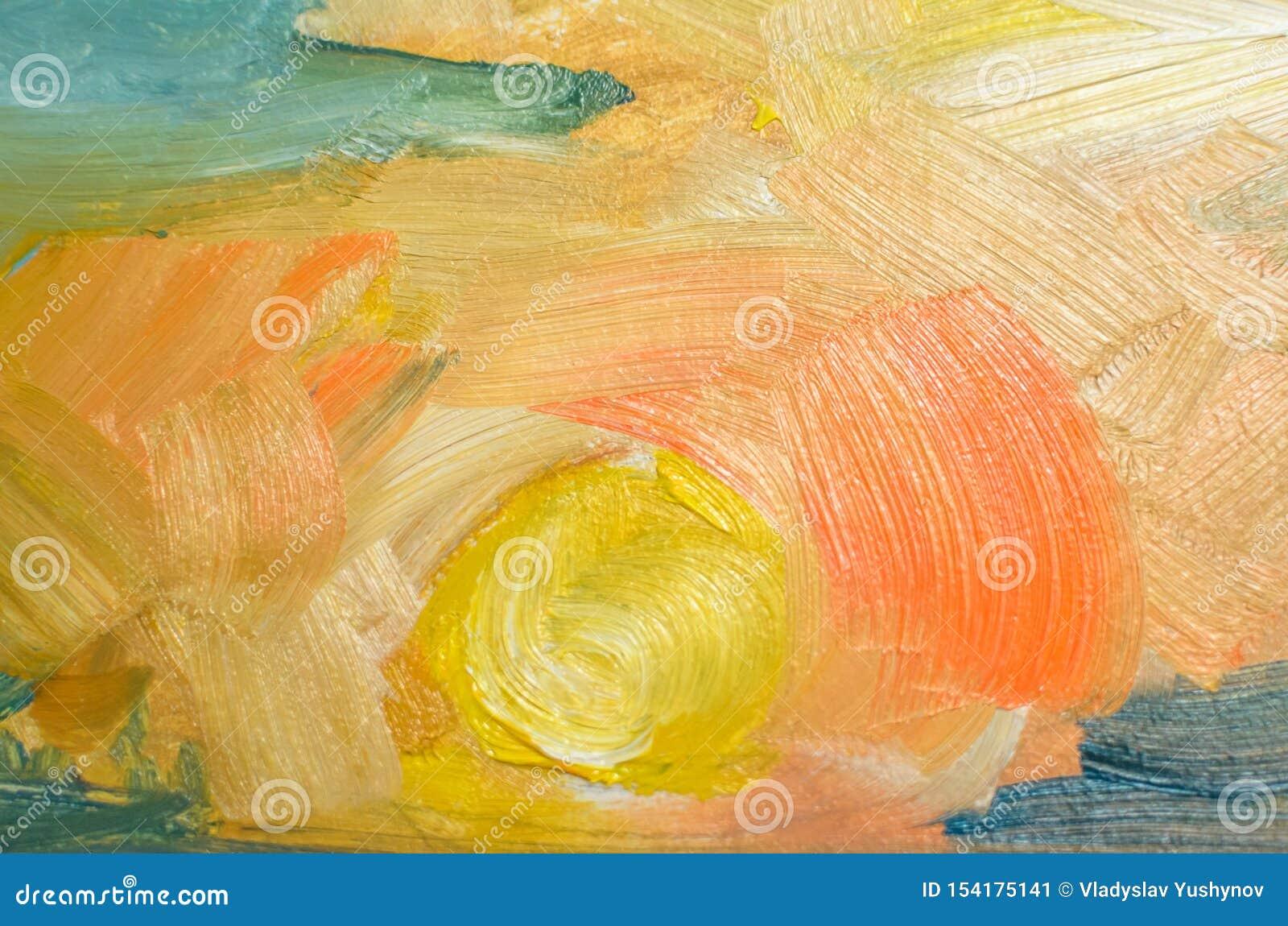 在帆布的色的油冲程与刷子,抽象线