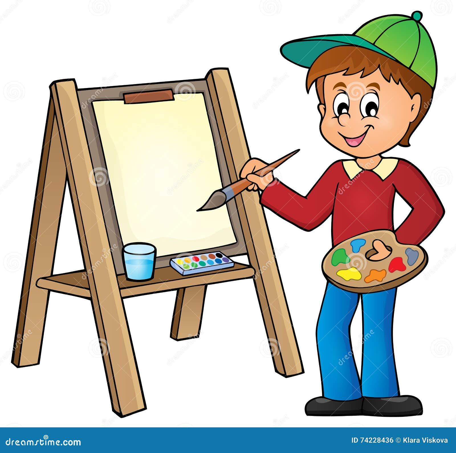 在帆布1的男孩绘画
