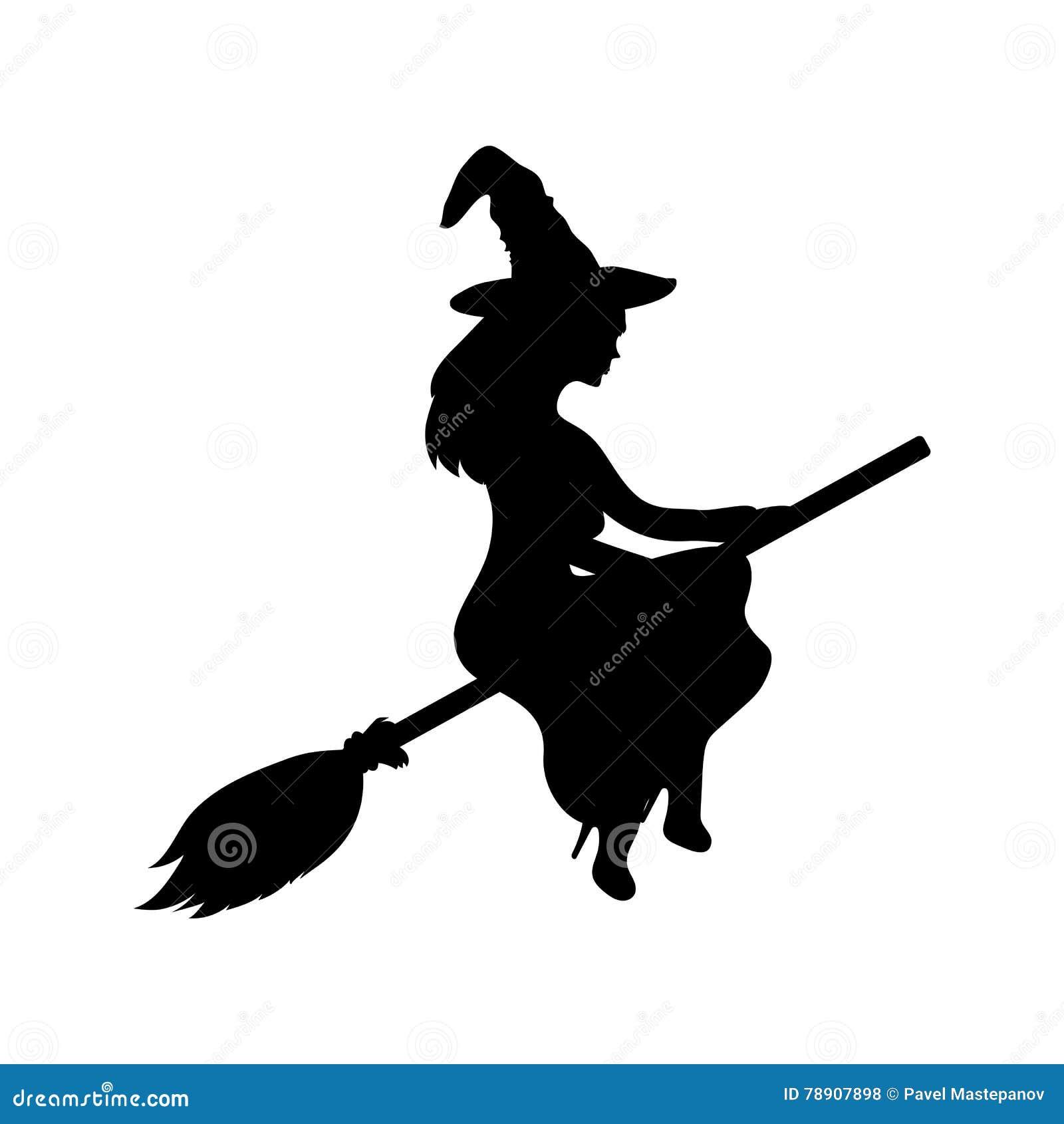 在帚柄的年轻巫婆飞行