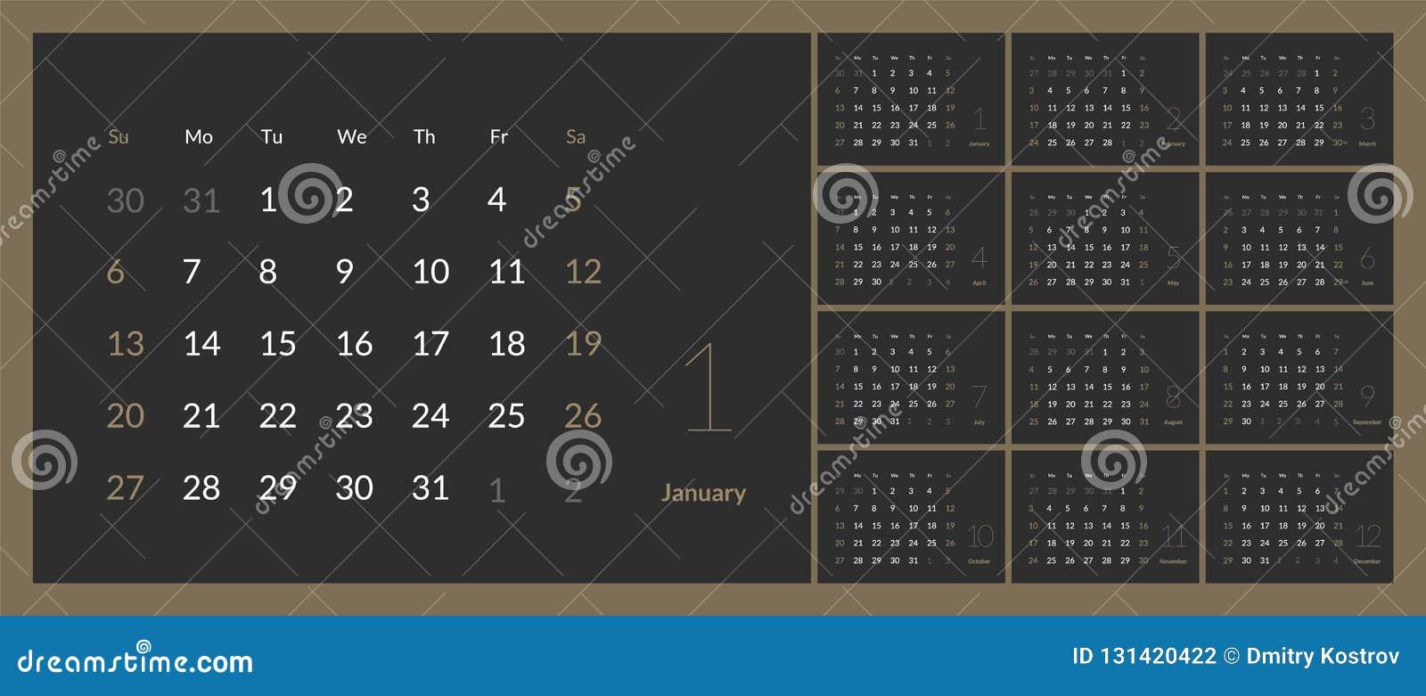 2019在干净的最小的桌简单的样式的新年日历传染媒介