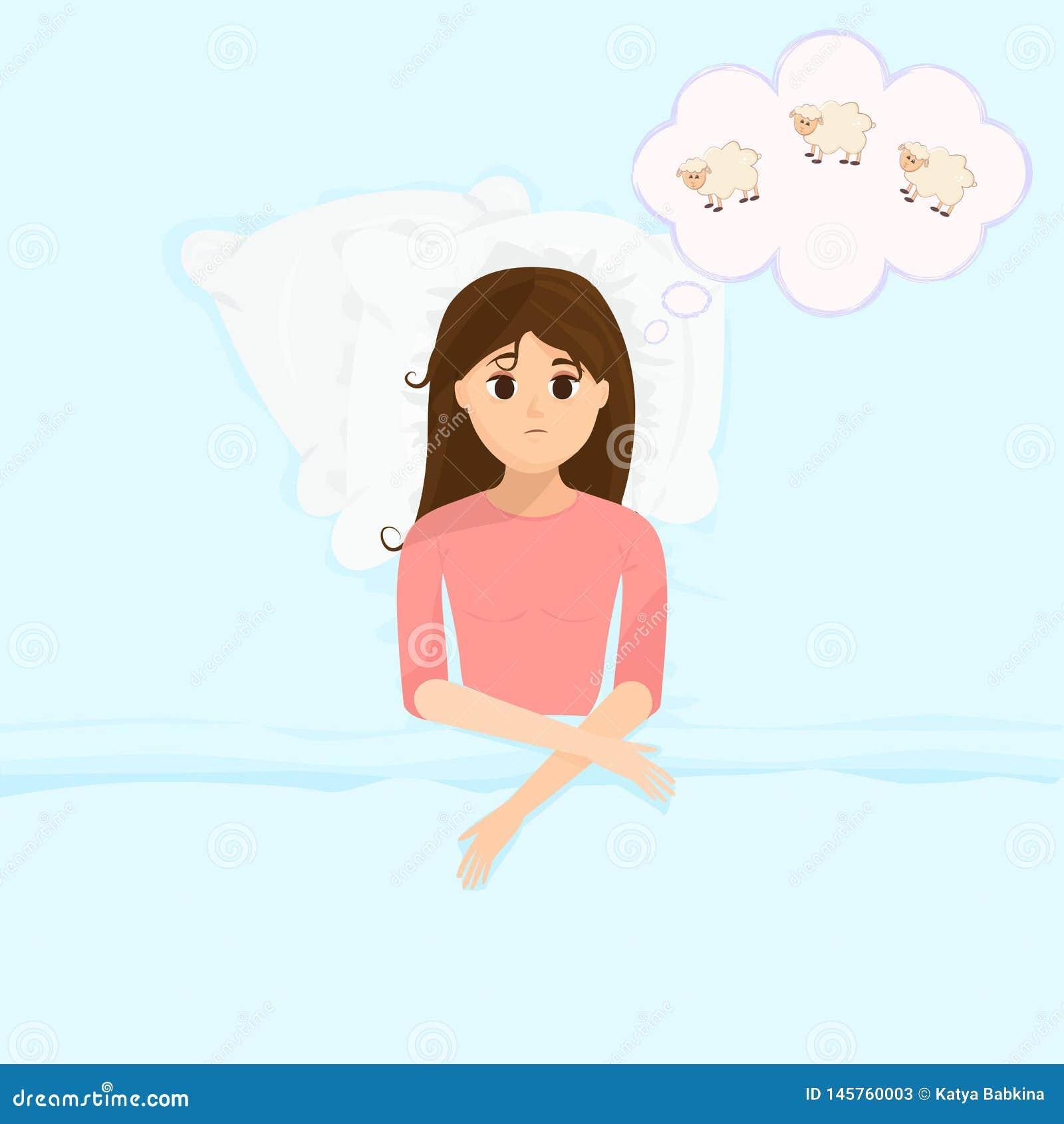 在平的动画片样式的传染媒介例证与床计数绵羊的哀伤的失眠的妇女