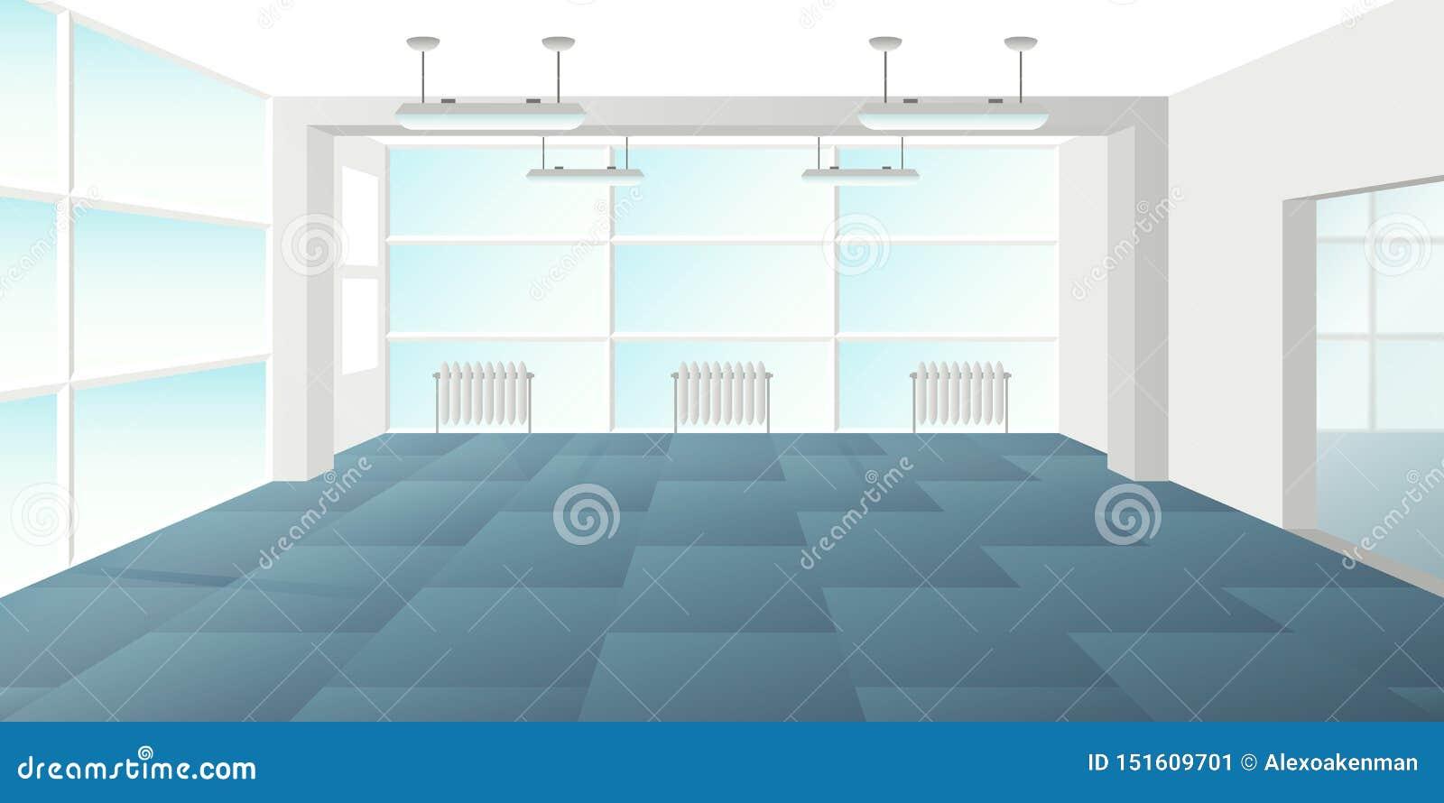 在平的样式的传染媒介现代顶楼办公室内部空的场面