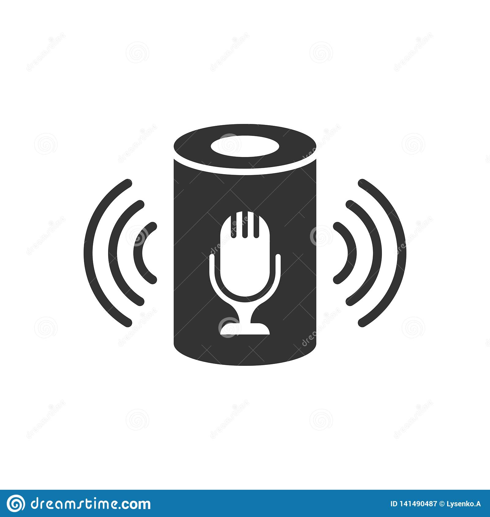 在平的样式的声音辅助象 在白色被隔绝的背景的聪明的家庭协助传染媒介例证 指挥中心事务