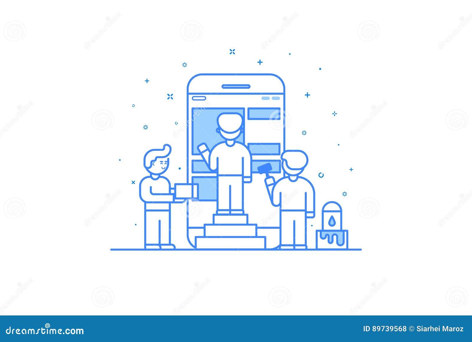 在平的概述样式的传染媒介例证 流动app设计和用户界面发展的图形设计概念