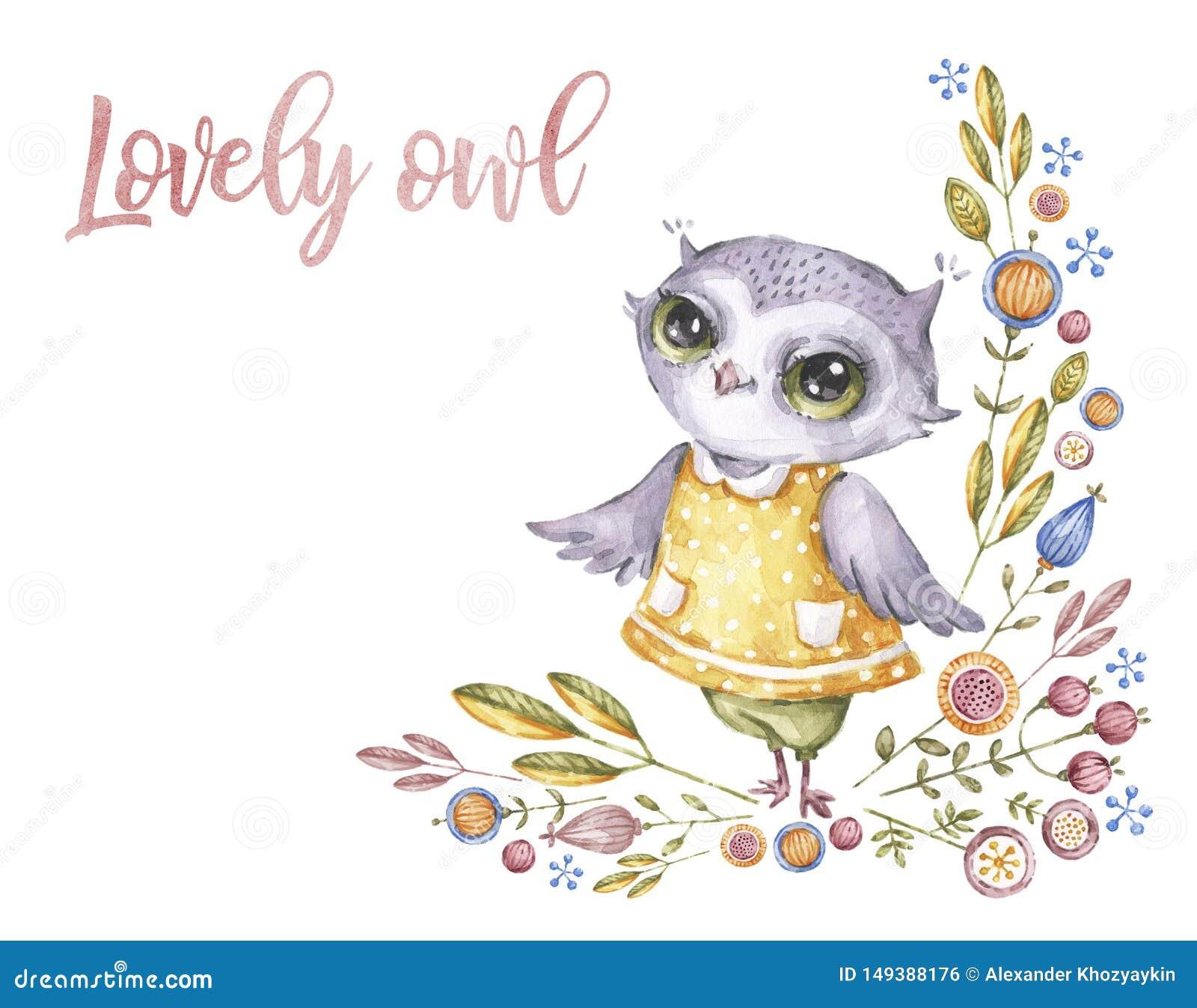 在幼稚样式的逗人喜爱的水彩猫头鹰