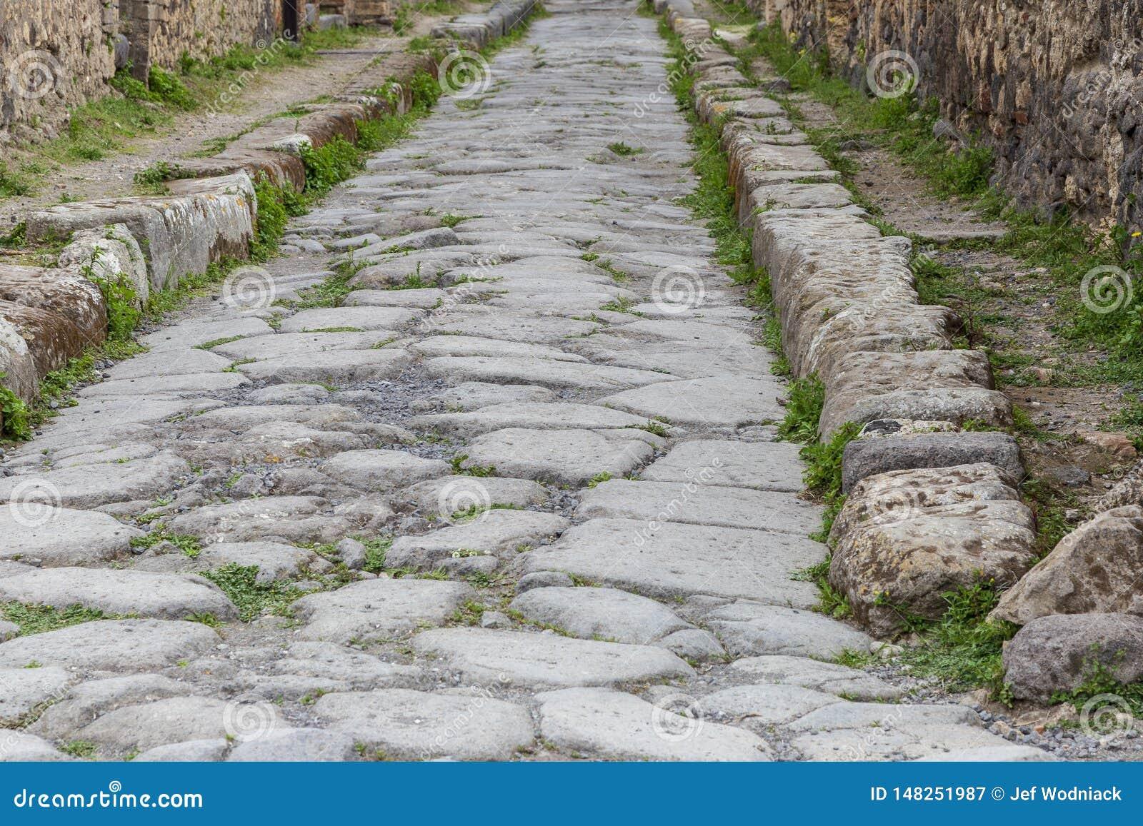 在庞贝城,意大利古色古香的罗马的被铺的街道