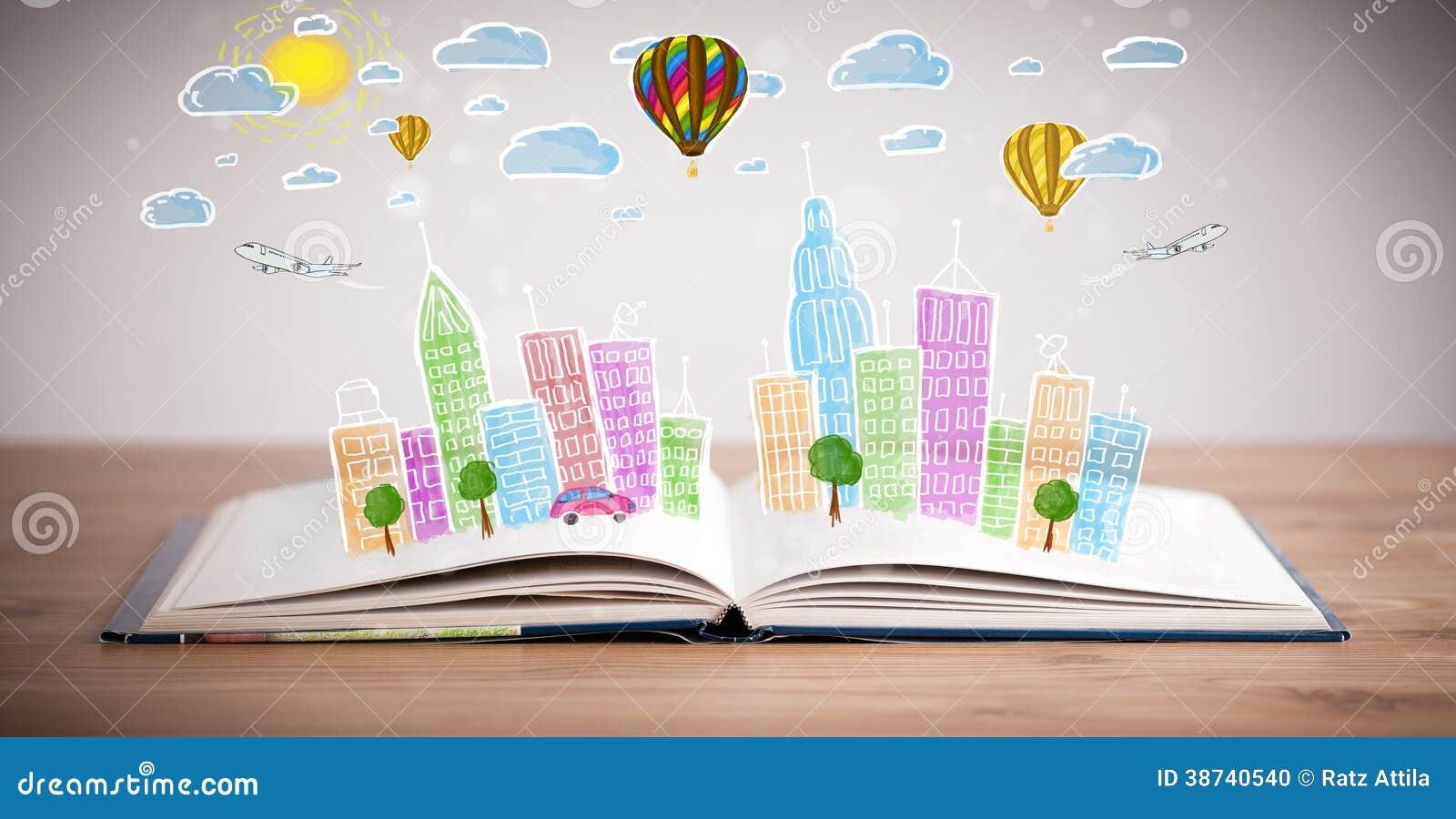 在开放书的五颜六色的都市风景图画.