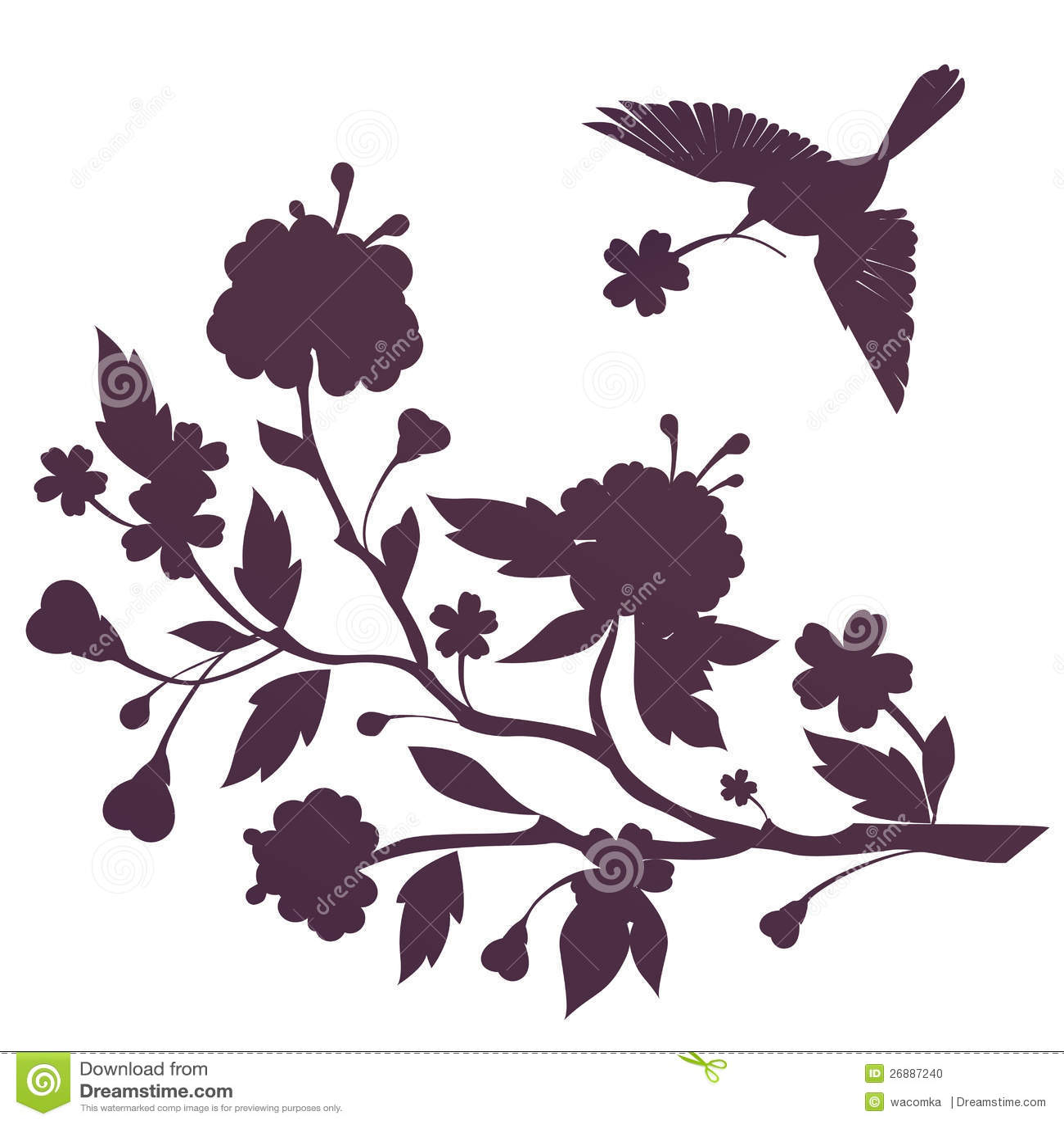 与鸟飞行的模板在开花佐仓结构树和牡丹之上开花