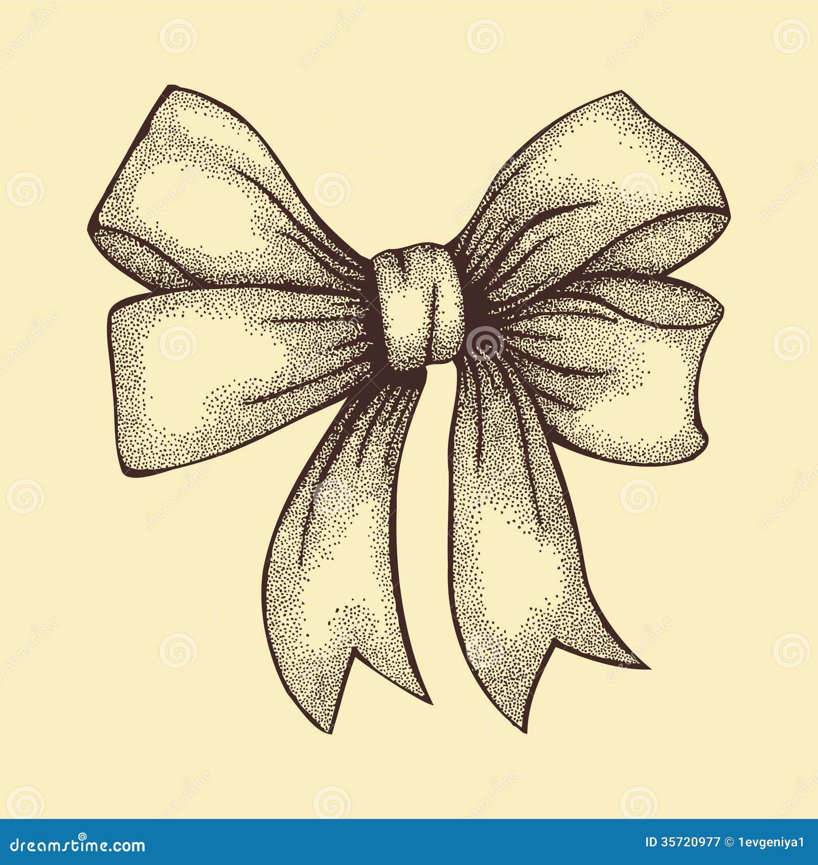 在弓栓的美丽的丝带。在钢笔画图表的样式的单图