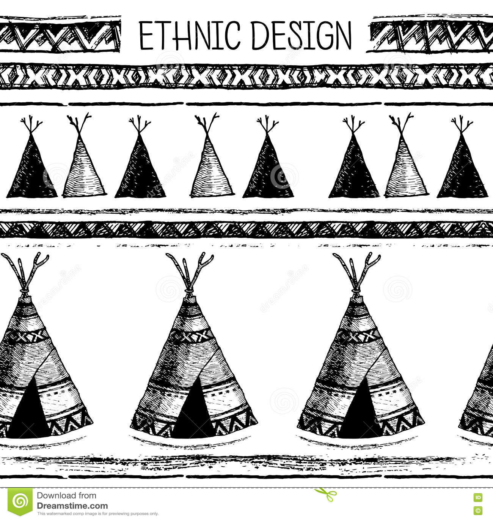 在当地样式的种族无缝的样式 房客圆锥形小屋样式 手拉的印地安传染媒介 美国本地人帐篷样式
