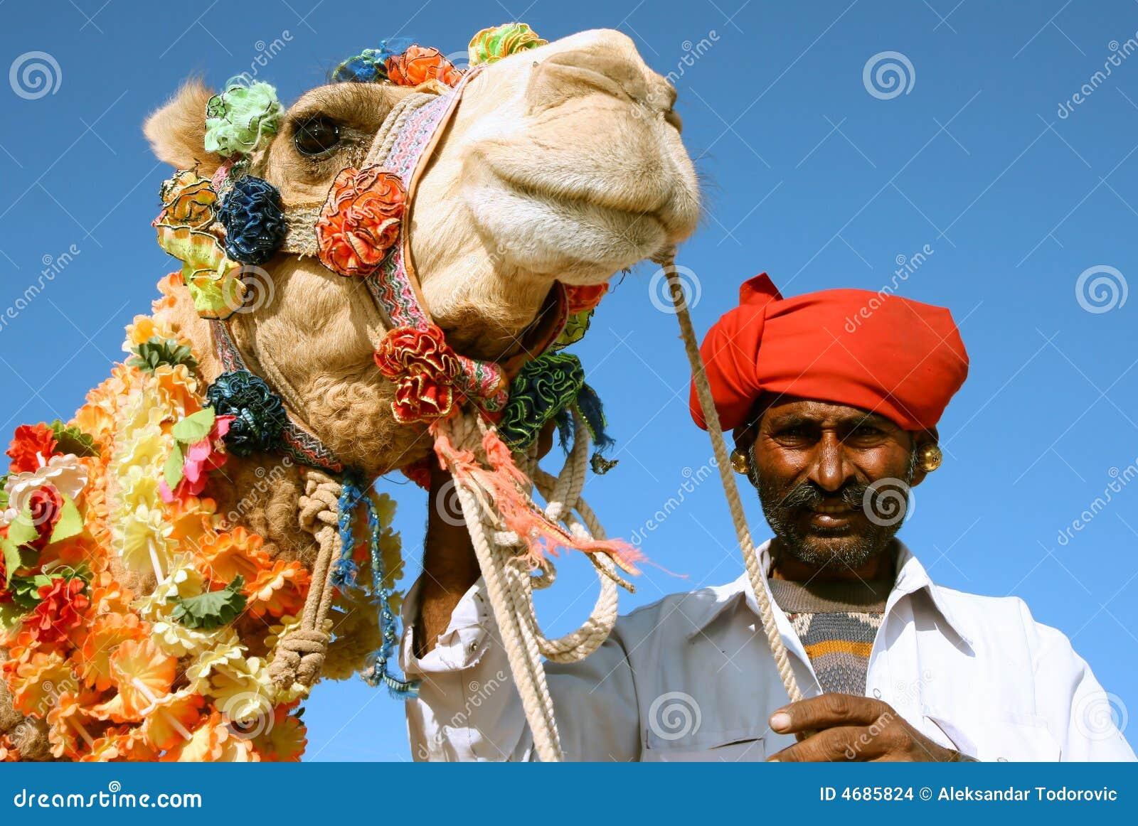 在徒步旅行队的骆驼