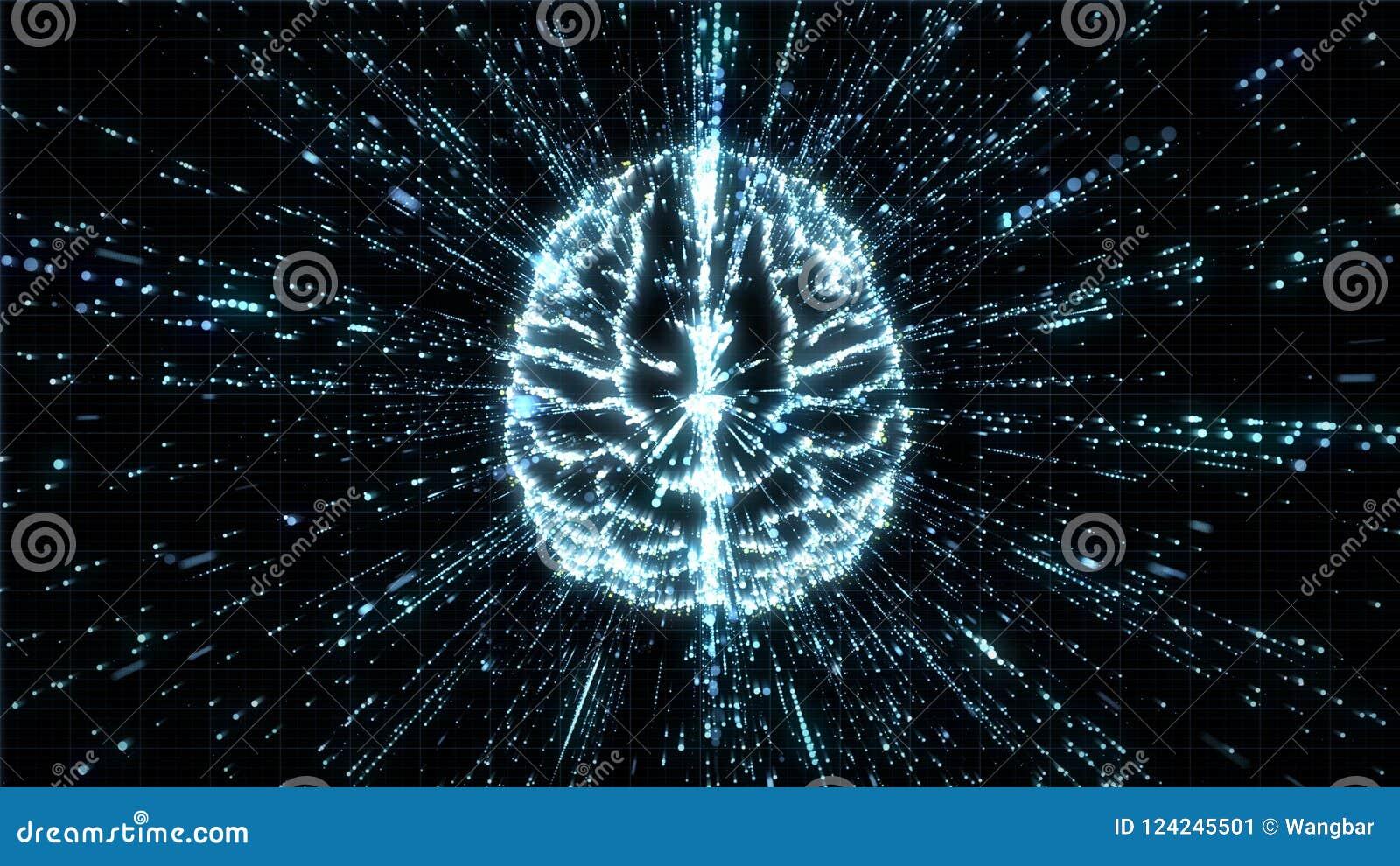 在微粒爆炸-顶视图的数字式脑子