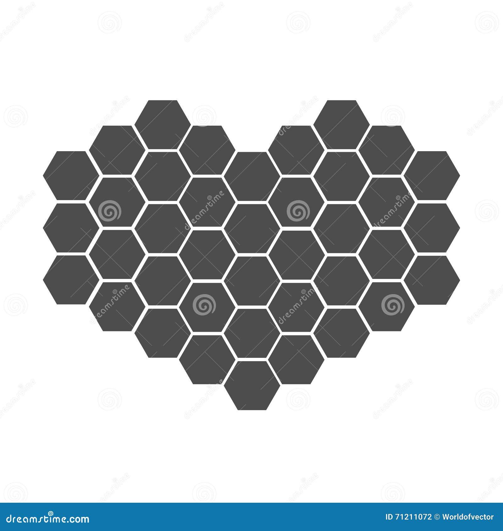 在心脏形状设置的黑蜂窝  蜂箱元素 蜂蜜象 查出 奶油被装载的饼干 平的设计