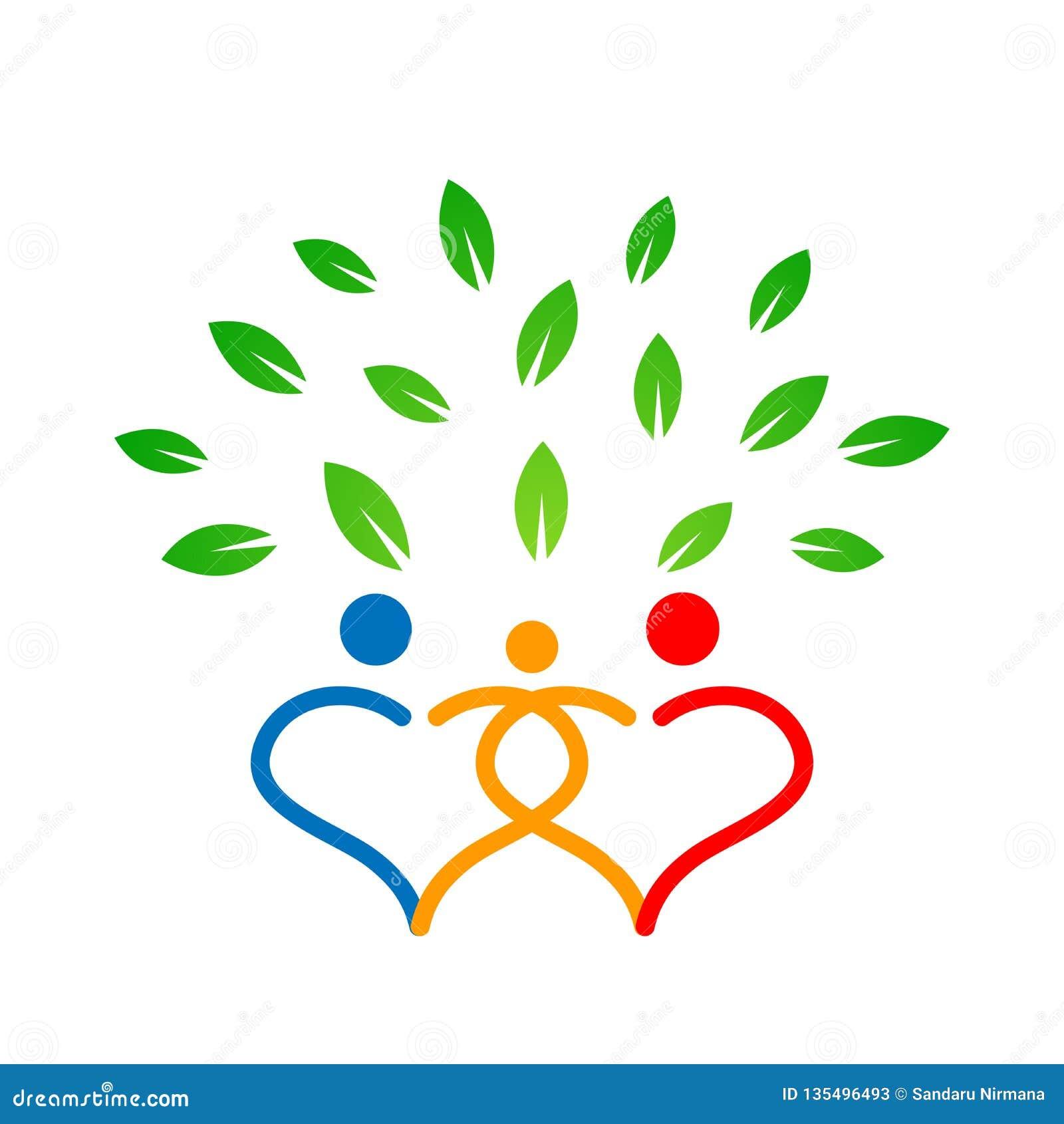 在心脏树标志的家谱做父母,孩子,育儿,关心,卫生教育象在白色背景的设计传染媒介