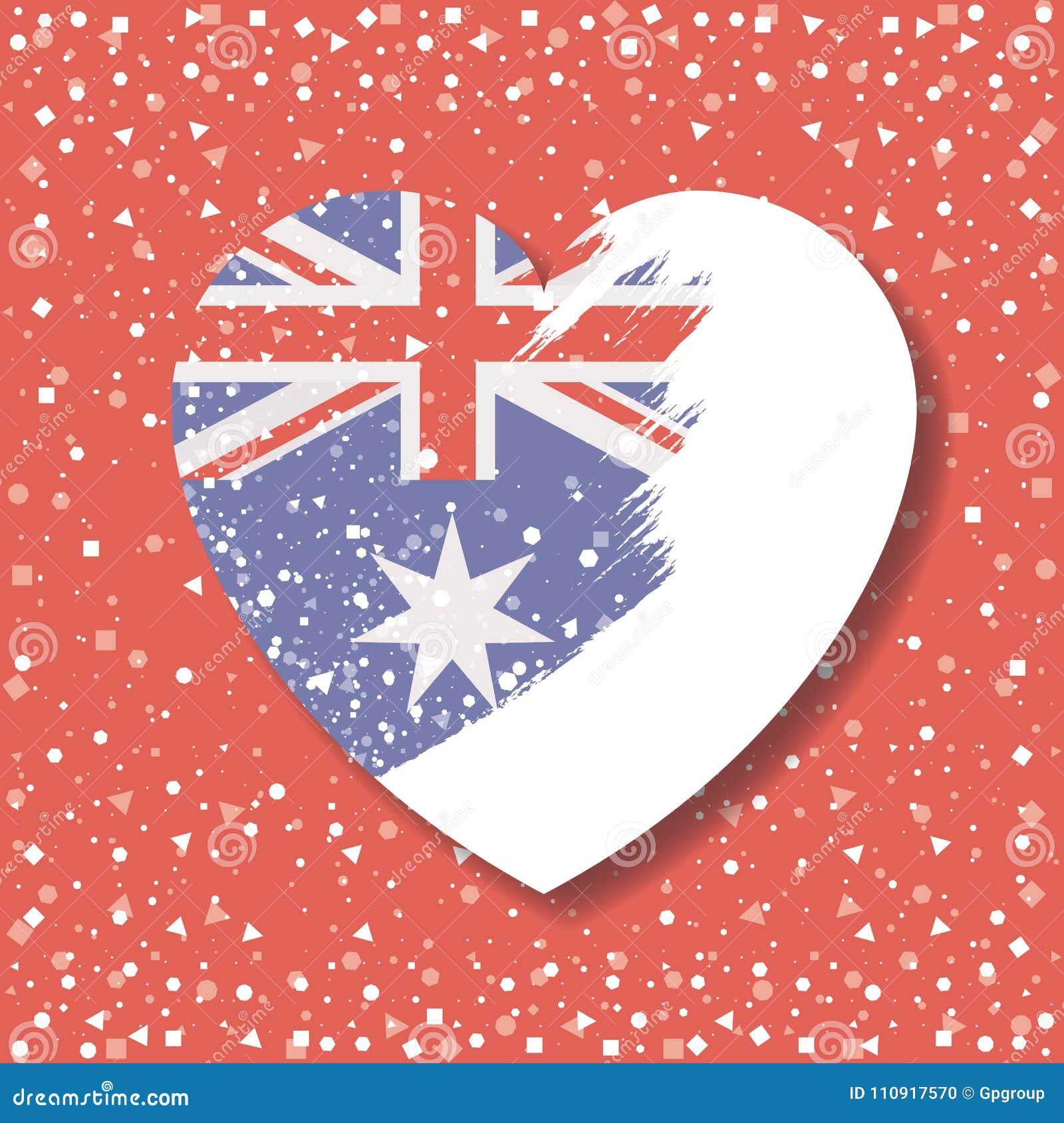 在心脏的澳大利亚旗子在不透明图表在红色背景中与五彩纸屑