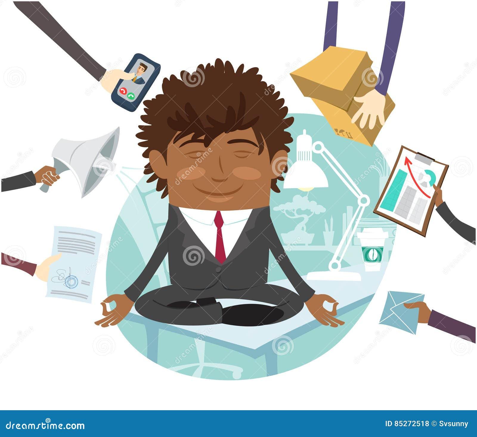 在思考在办公室的桌上的黑商人坐的安静