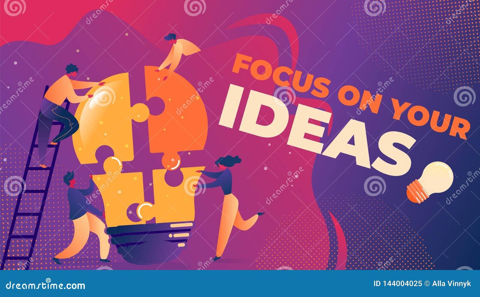 在您的想法的平的传染媒介例证焦点
