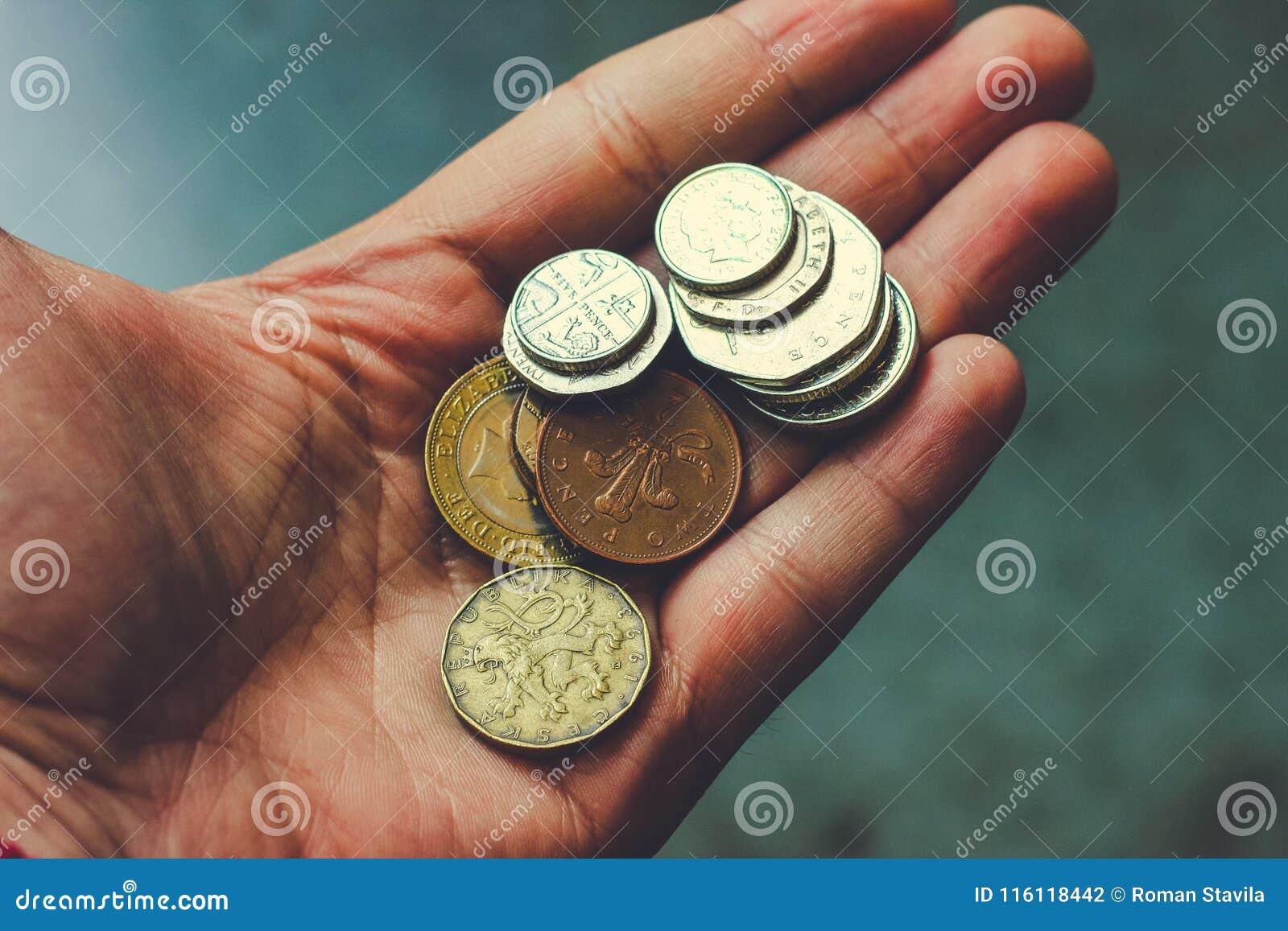 在您的手棕榈的硬币