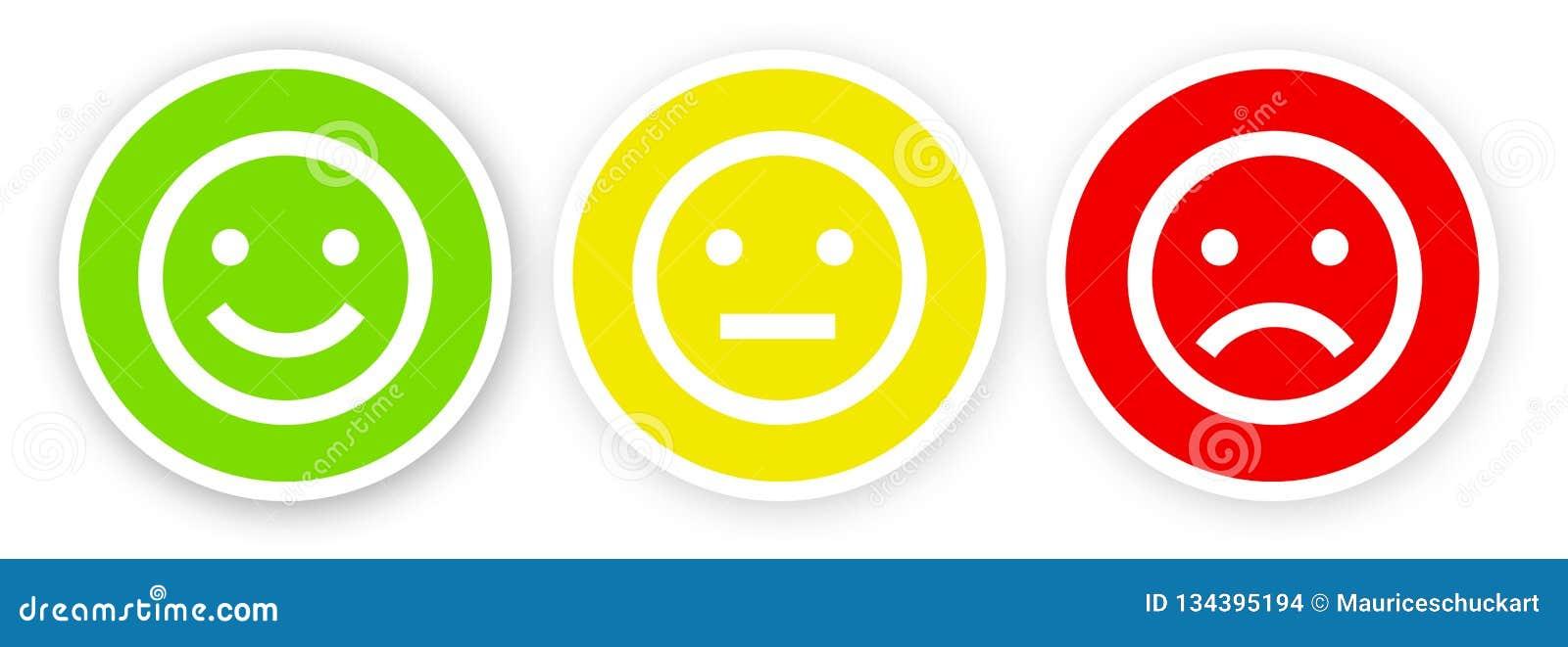 在愉快白色的背景的3面带笑容,满意,不满意和不快乐