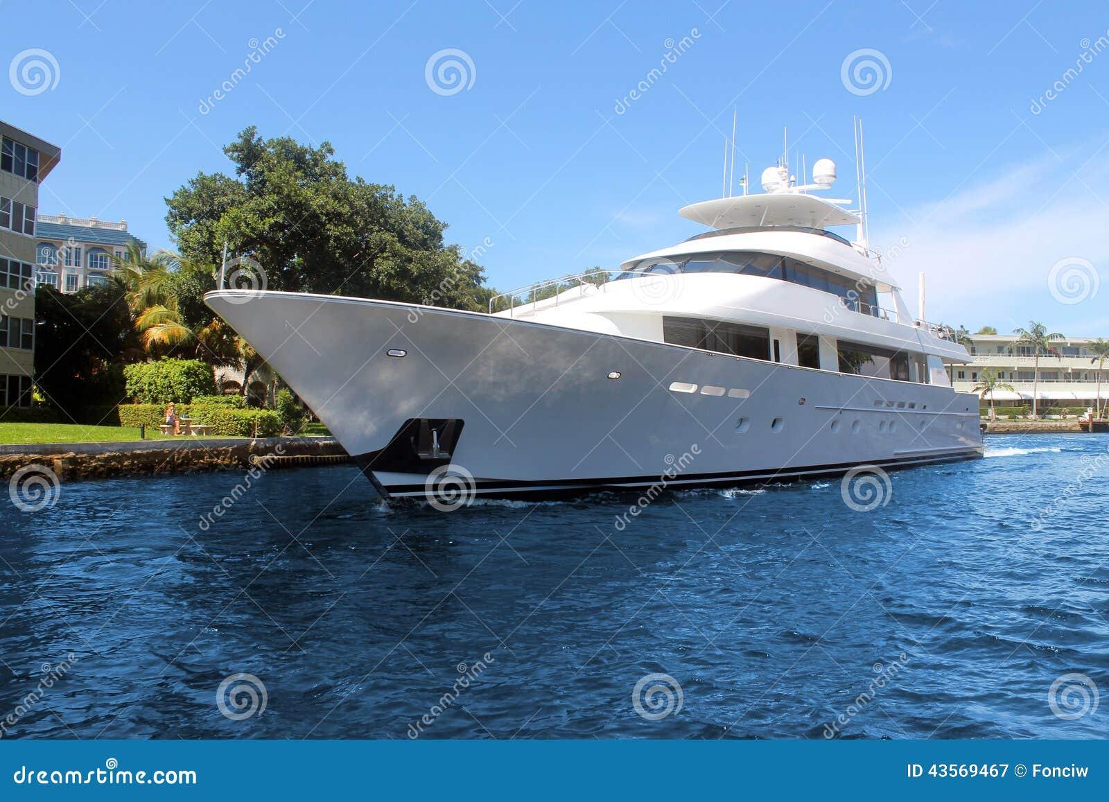 在房子前面的豪华游艇