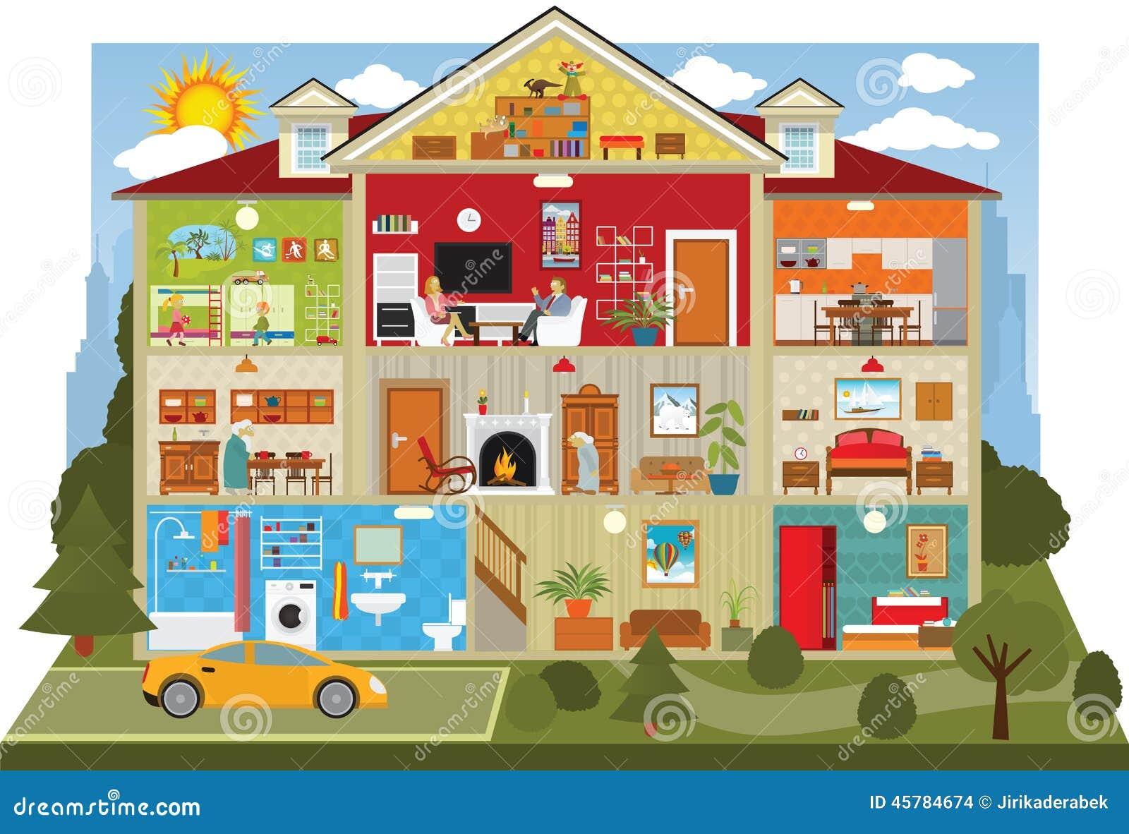 在房子里面 向量例证 插画 包括有 西洋镜 系列 装饰 布琼布拉 子项 国内 厨房 活动
