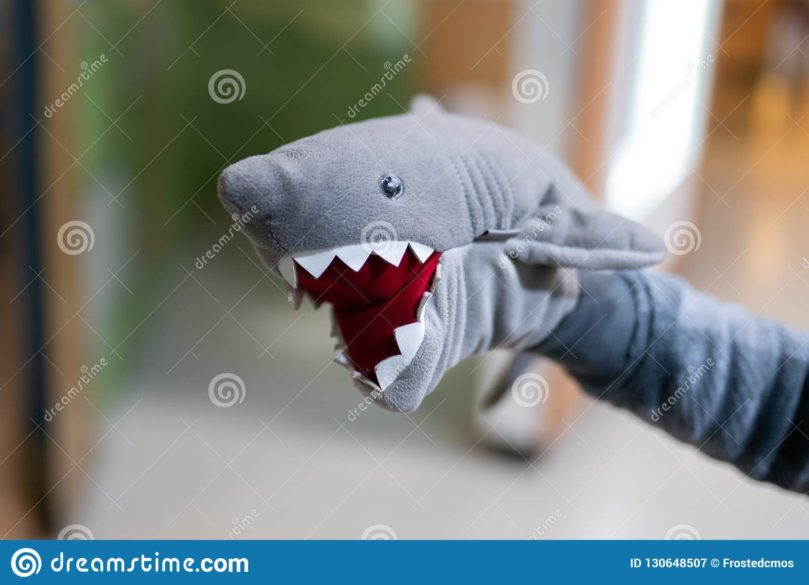 在手上的被充塞的鲨鱼玩具