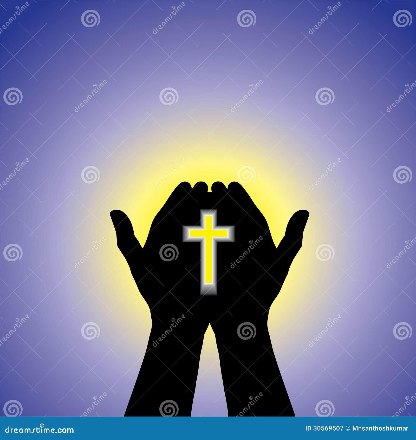 在手中祈祷或崇拜与虔诚的基督徒崇拜的基督的十字架-概念的人有清楚