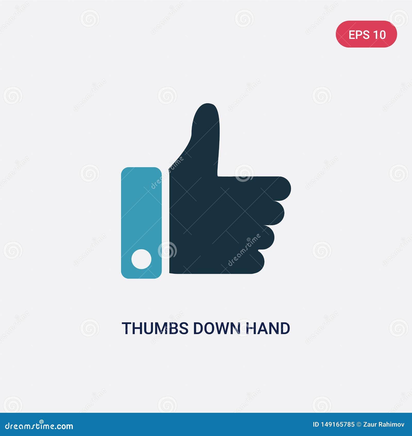 在手传染媒介象下的两种颜色的拇指从标志概念 在手传染媒介标志标志下的被隔绝的蓝色拇指可以是网的用途,