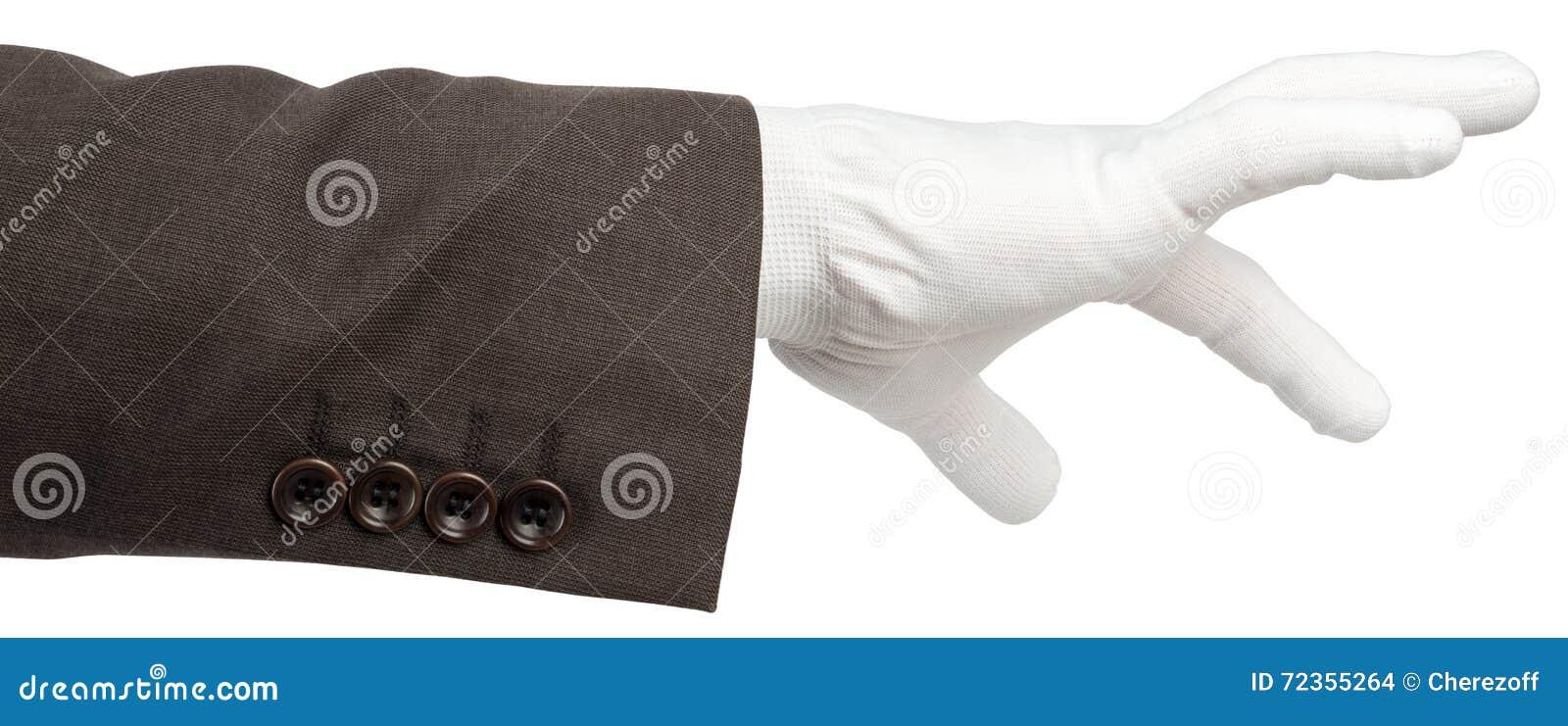 在手套的商人手