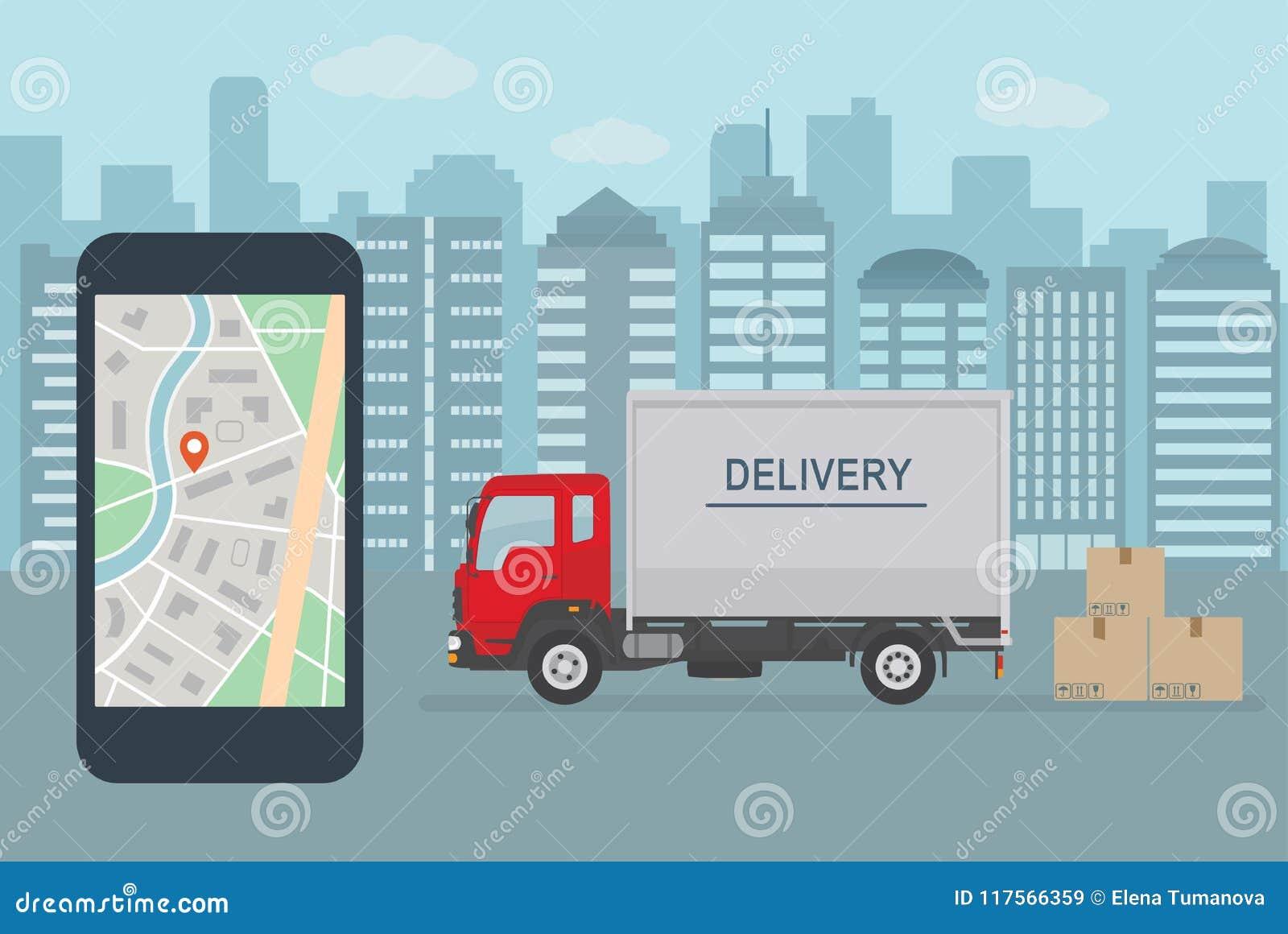 在手机的送货业务app 送货卡车和手机有地图的在城市背景