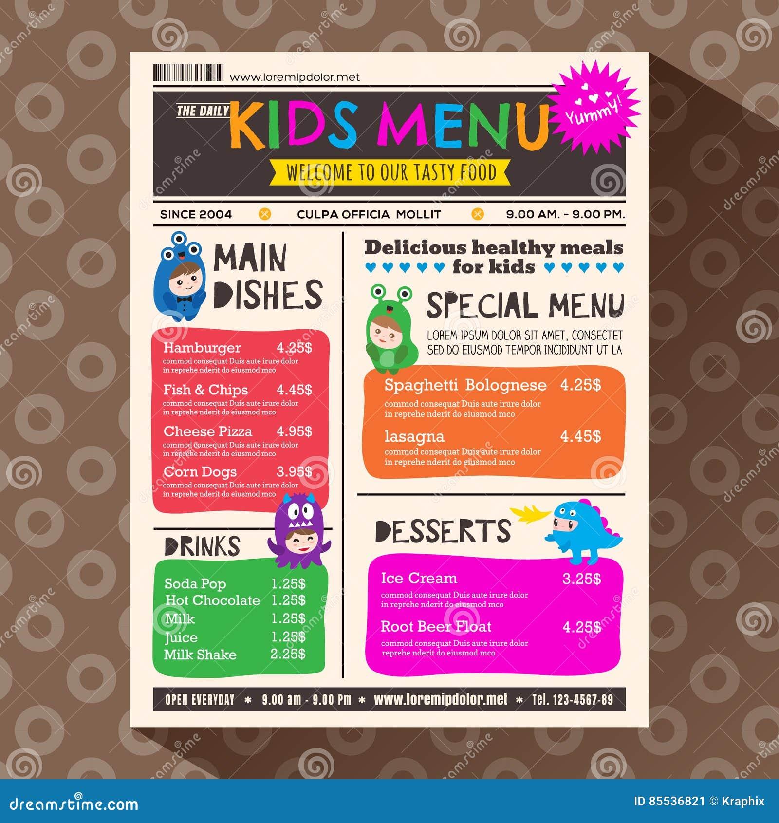 在报纸样式的逗人喜爱的五颜六色的充满活力的孩子菜单模板